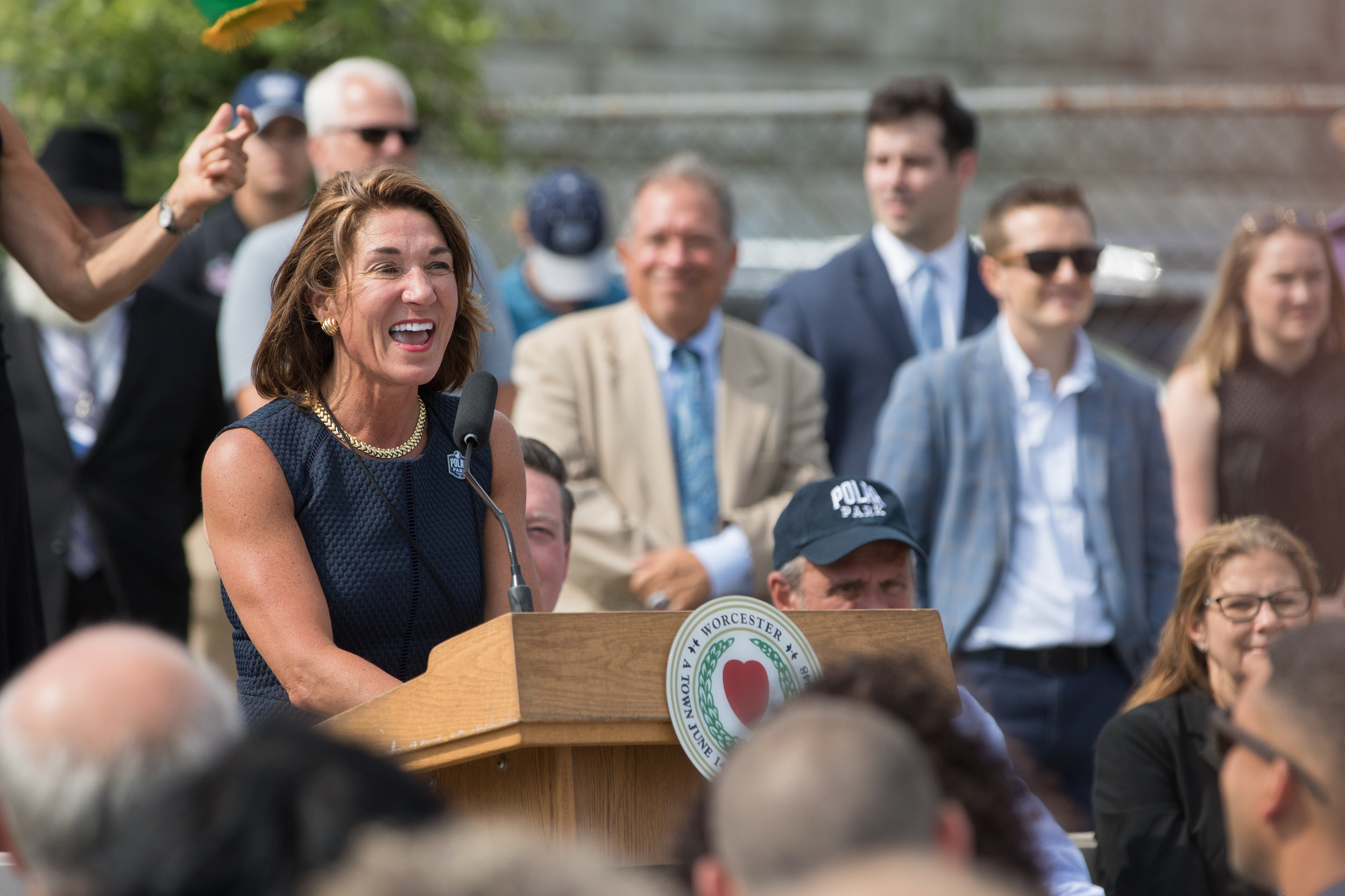 Lt. Governor Karyn Polito  speaks at the groundbreaking event for Polar Park, future home of the Worcester Red Sox. July 11, 2019, in Worcester, Massachusetts.