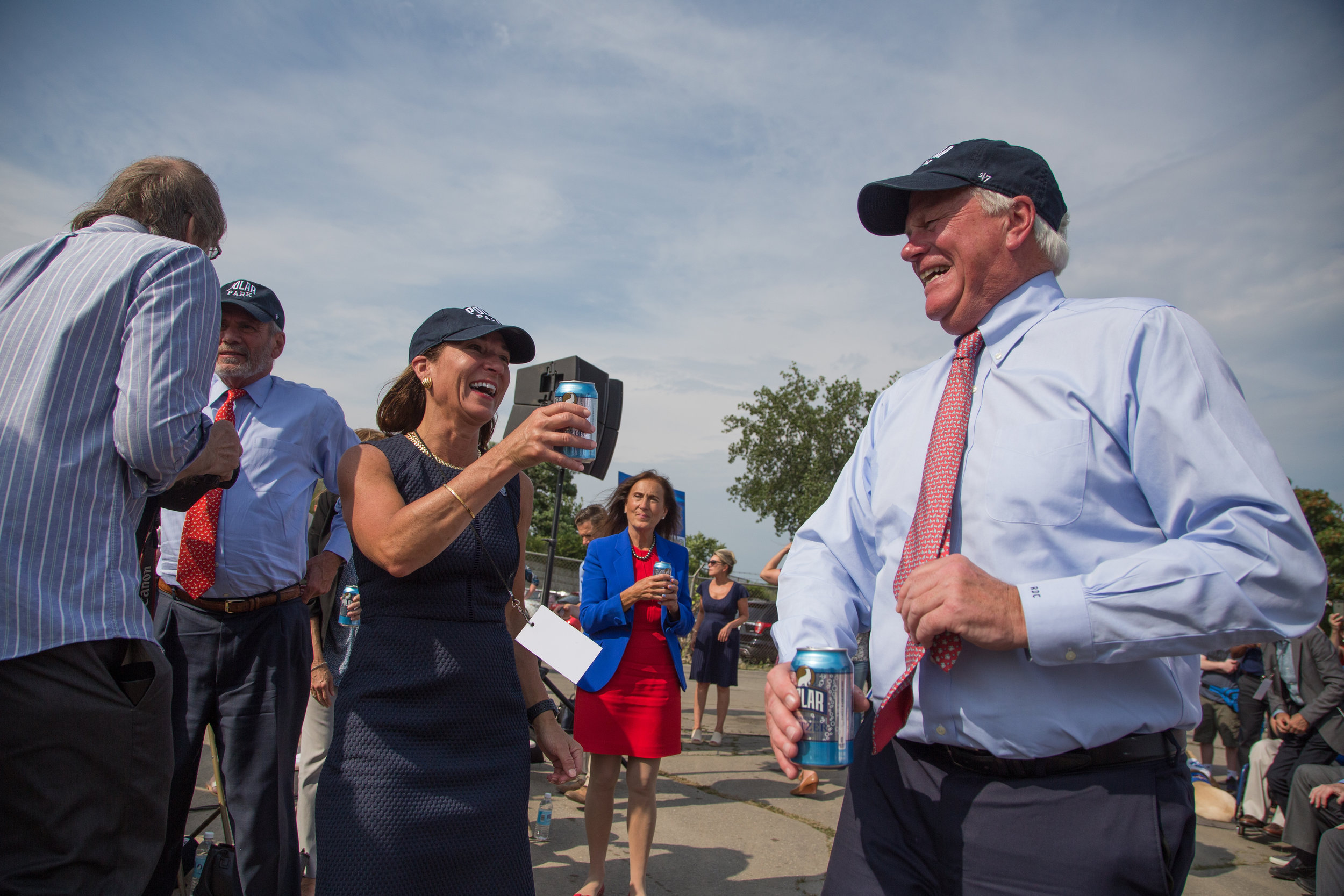 Lt. Governor Karyn Polito  toasts with local officials at the groundbreaking event for Polar Park, future home of the Worcester Red Sox. July 11, 2019, in Worcester, Massachusetts.