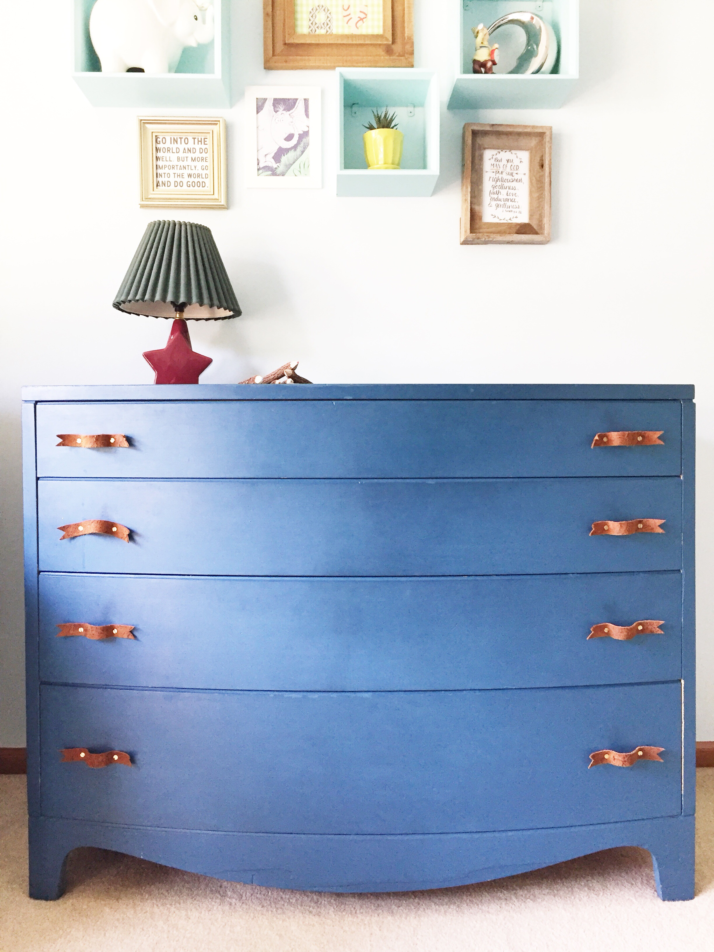 diy blue painted dresser and leather pull.jpg