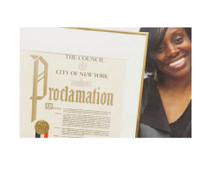 OCT 2016   NYC Councilmember Daniel Dromm presented Underwood with a NYC Proclamation declaring OCTOBER See Us, Support Us Month