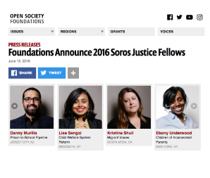 JUNE 2016   Ebony Underwood is named  2016 SOROS JUSTICE FELLOW .  Underwood,  Skadden Arps Scholar  is recognized by her alma mater CCNY for being named a 2016 Soros Justice Fellow for her work & achievements