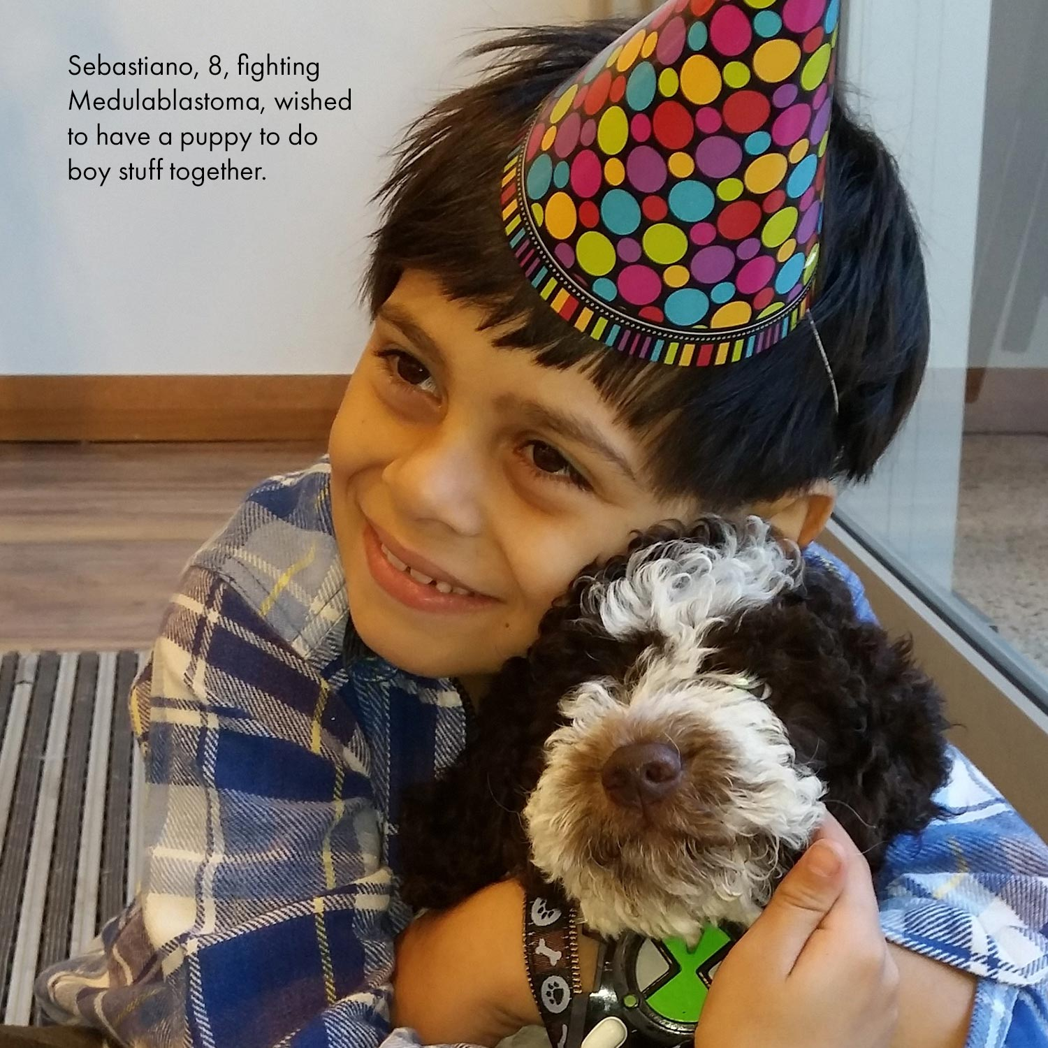 Little boy in a party hat hugging a dog
