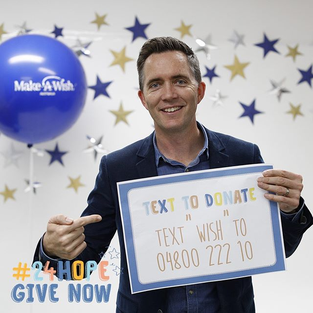 "For the next hour your donation will be doubled!! Thanks @bryceholdaway for being a wish-maker! Remember you can text ""wish"" to 04800 222 10 and be part fo #24HOPE too!"