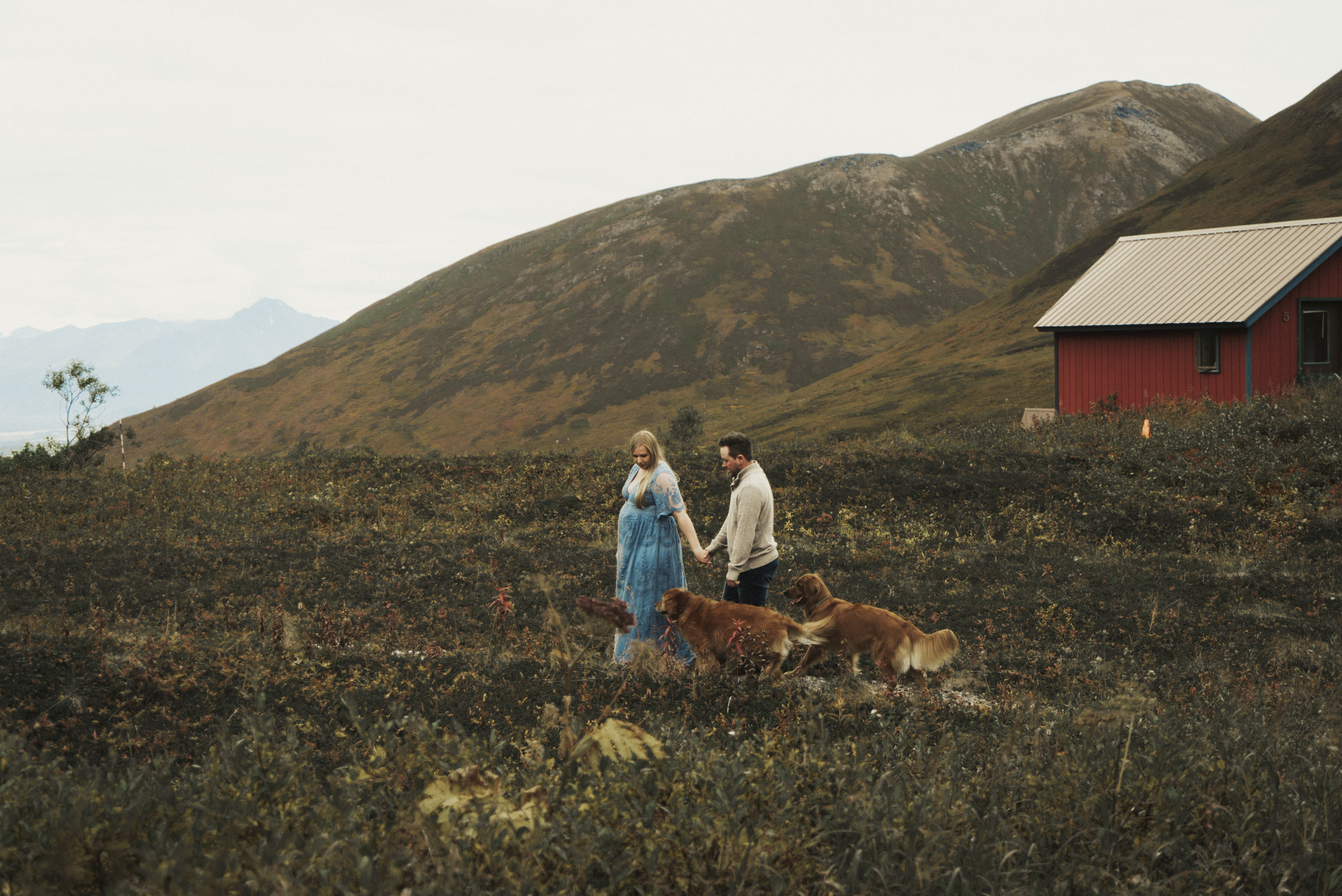 Chasen & Ari - Maternity photo set in Alaska wilderness with a favorite family