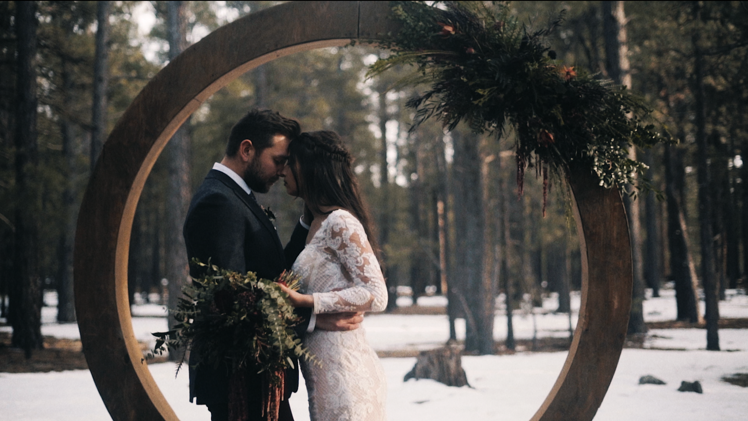 Jay & Mack - An elegant, snowy styled elopement in the Flagstaff forest