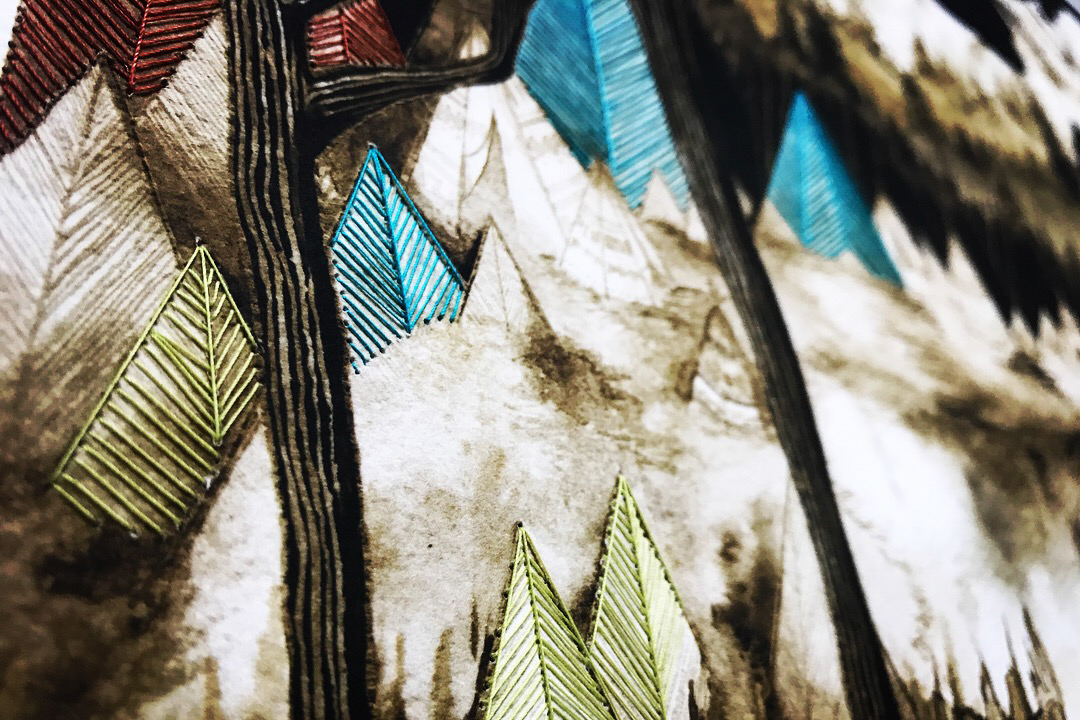 """Embroidery detail from """"Sepia Reckoning"""""""