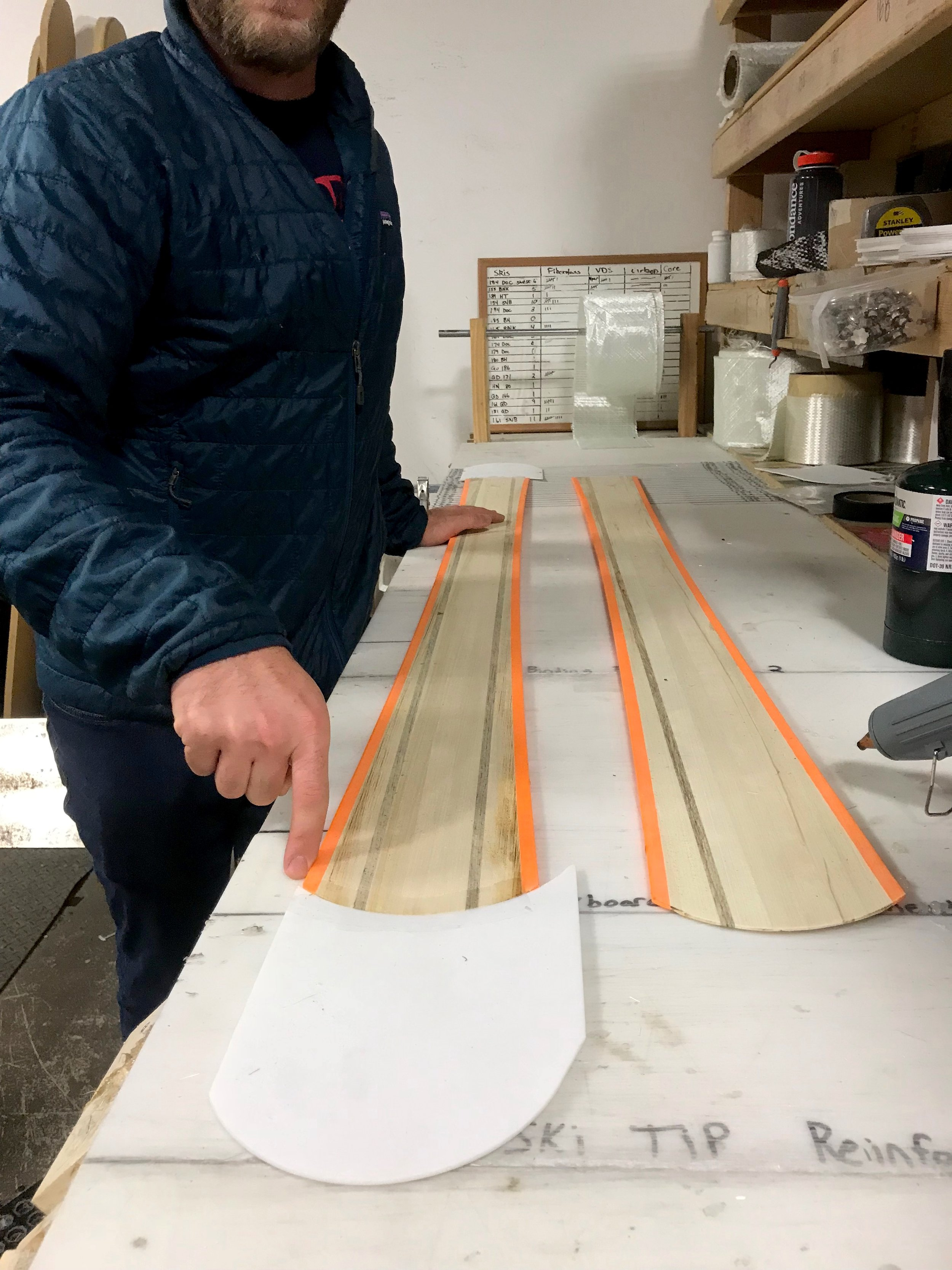 No surprise here - turns out every pair of handmade skis is the product of many hours or work by a whole team of dudes in the Meier workshop.