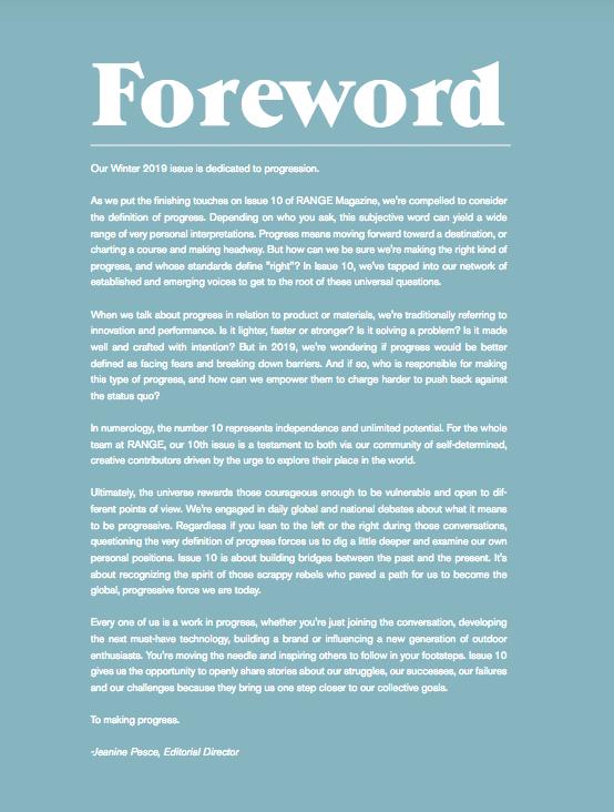 Range Magazine Issue 10 foreward - on  progress