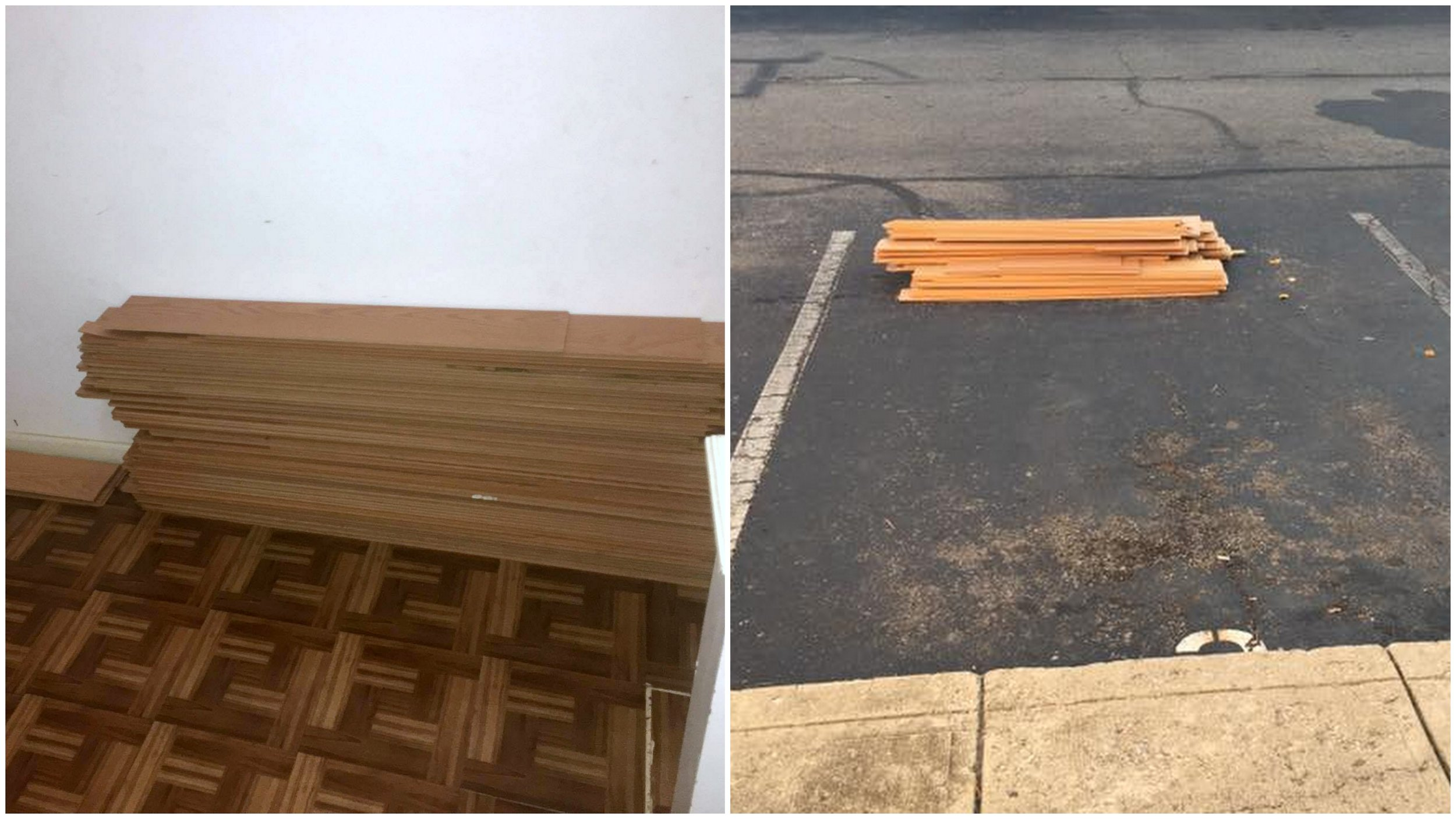 wooden floor boards before after
