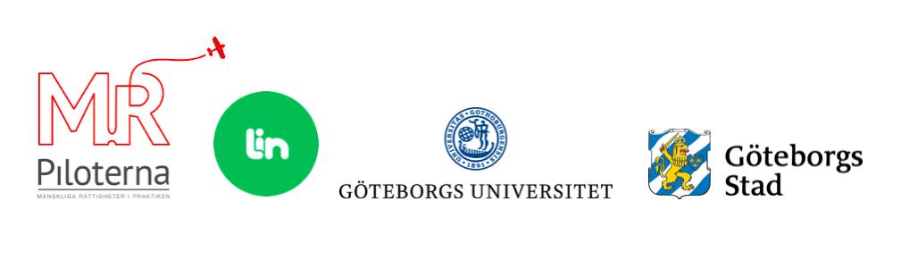 Syntolkning: Bilden visar logotyperna som tillhör Rättighetsreportrarnas projektparter MR-piloterna, Lin Education, Göteborgs universitet och Göteborgs stad.
