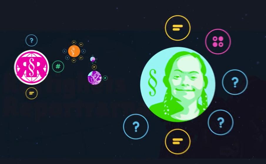 Syntolkning: Bilden visar delar av loopen Rättighetsreportrarna med cirklar i olika färger. Där finns också bilder på ett barn, på Rättighetsreportrarnas logotyp med mer.
