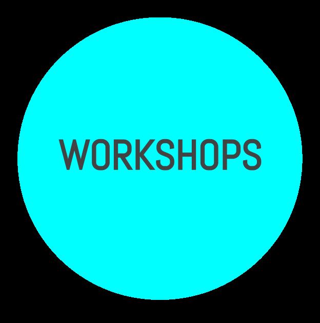 Syntolkning: En turkos klickbar cirkel med texten Workshops.