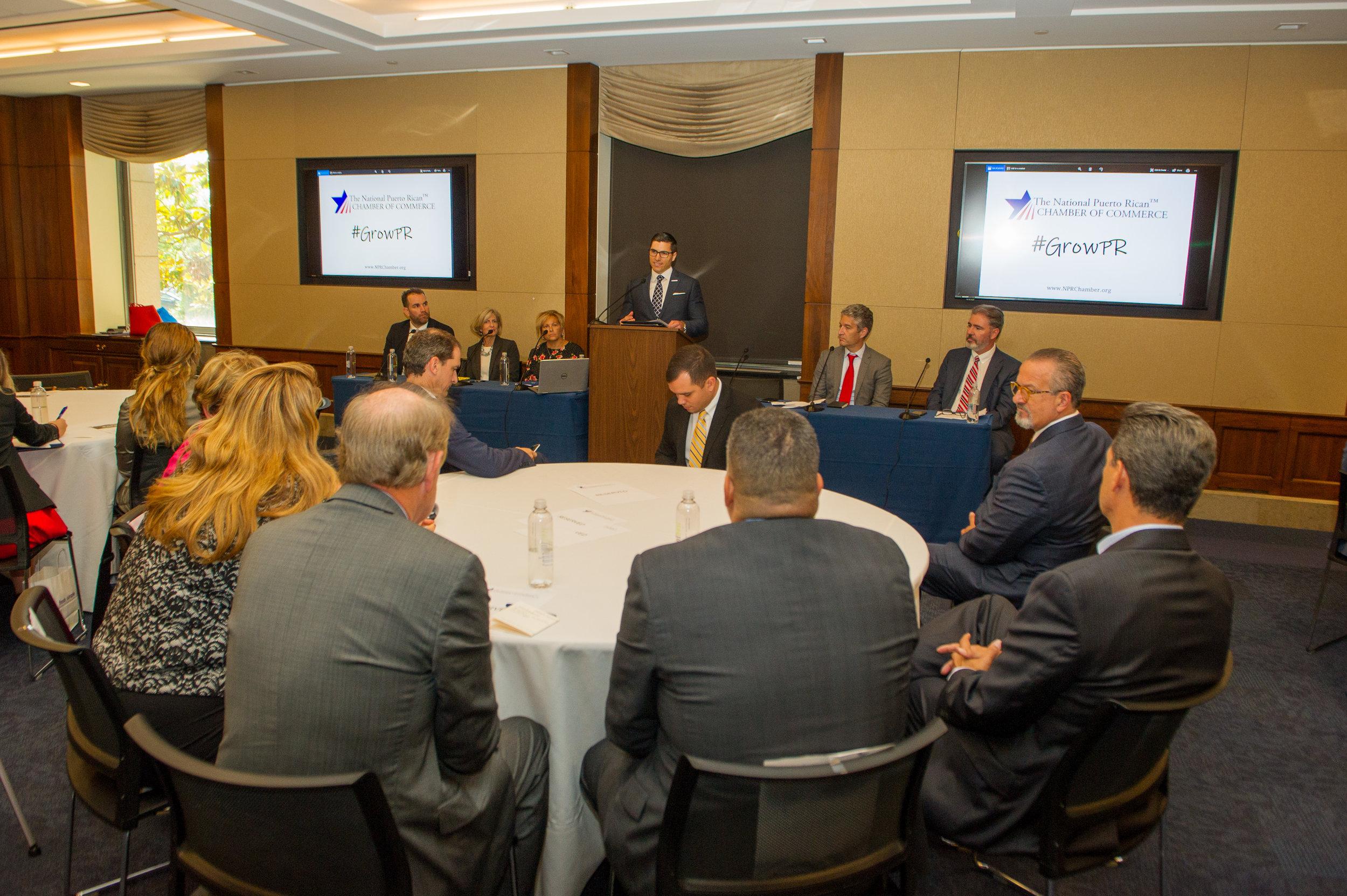 "Congresswoman Gonzalez-Colon, Rodrigo Masses, Mayor ""Mayita"" Melendez, and more listen to Executive Director Velez-Hagan provide opening remarks."