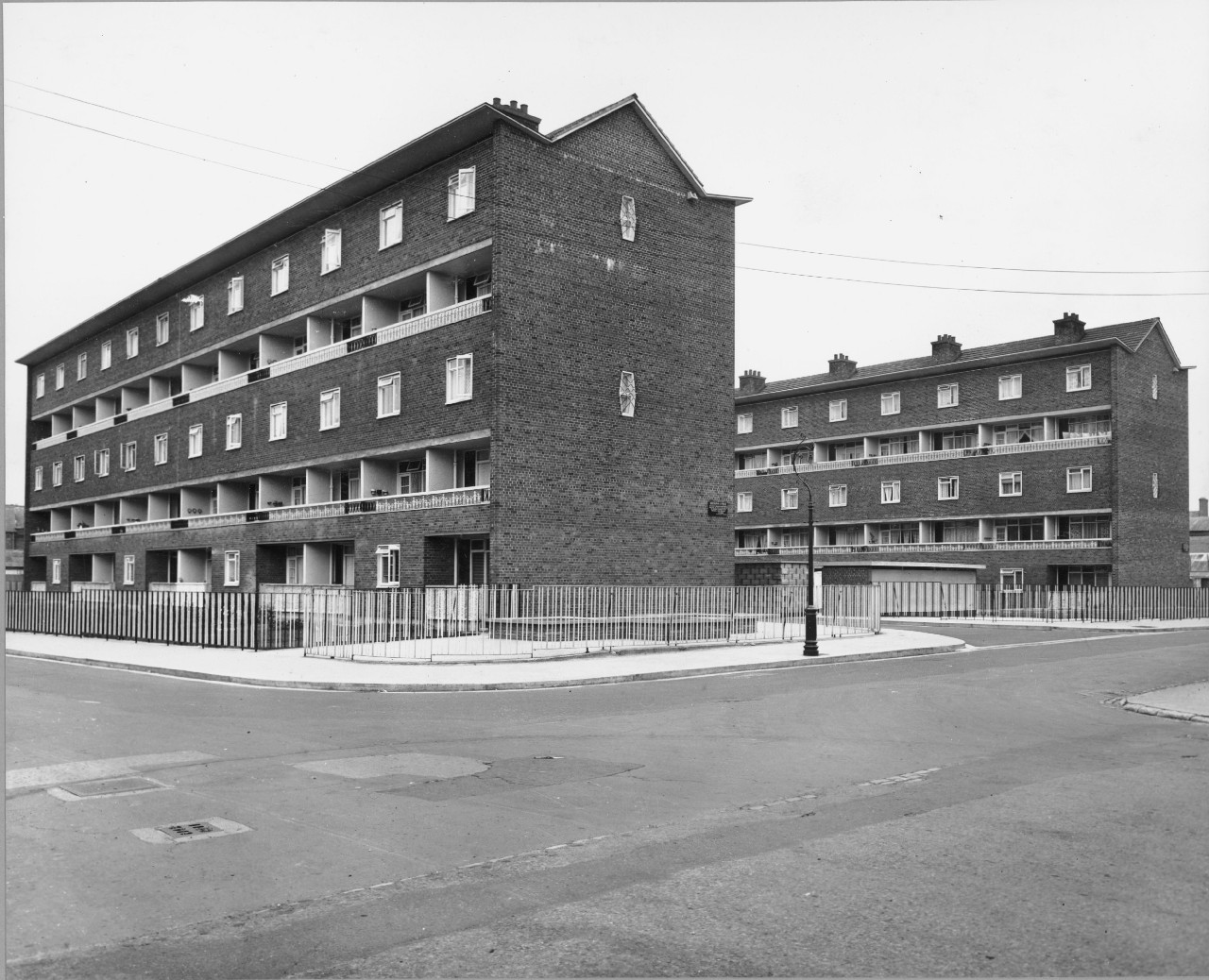 The flats, with the mosaics just visible on the balconies. Photo: UCD archives/Assoc. Prof Joseph Brady