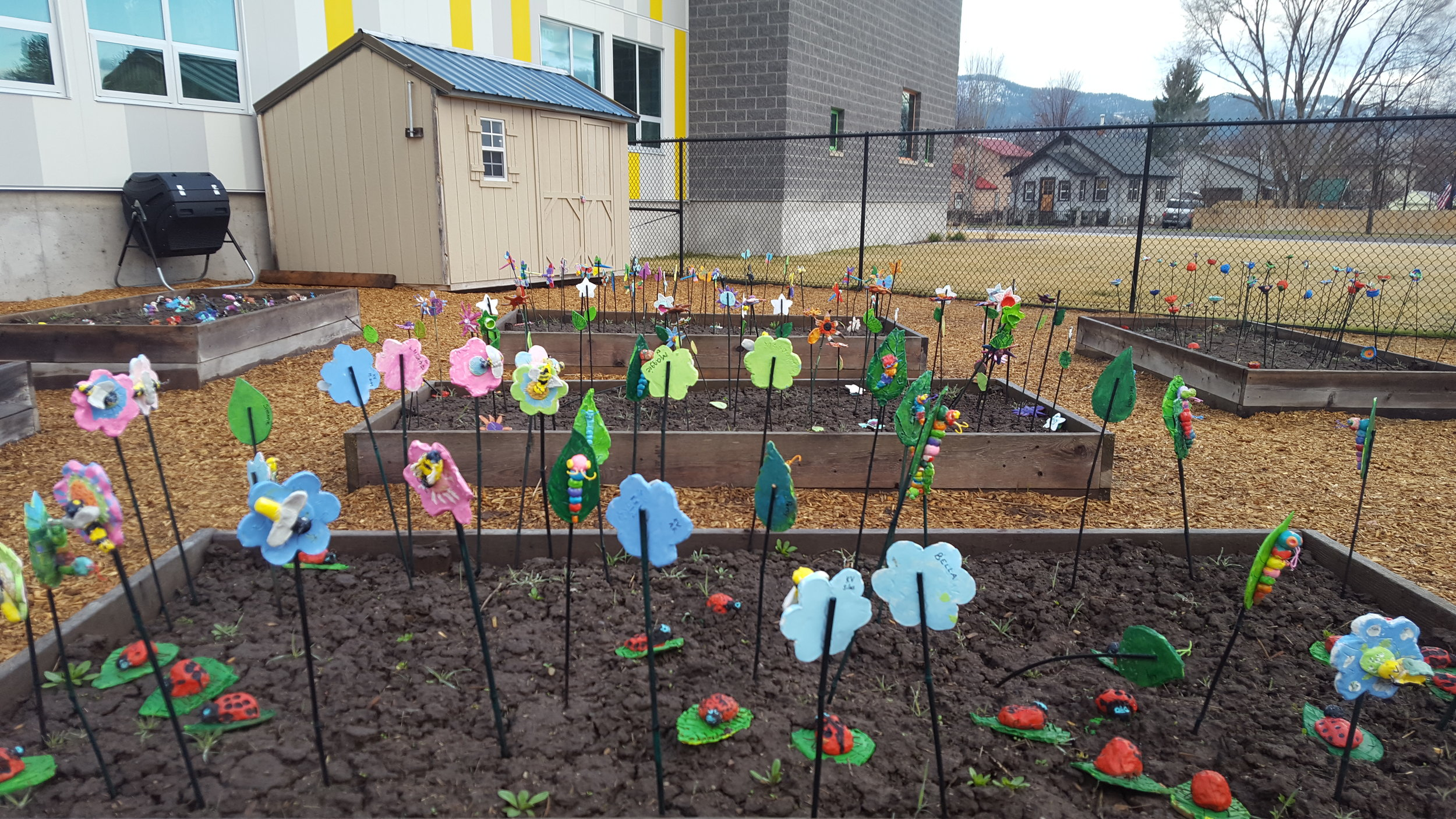 Every single Franklin Elementary student took part in the ceramic art project over the winter, filling their new garden with color before the springtime plantings.
