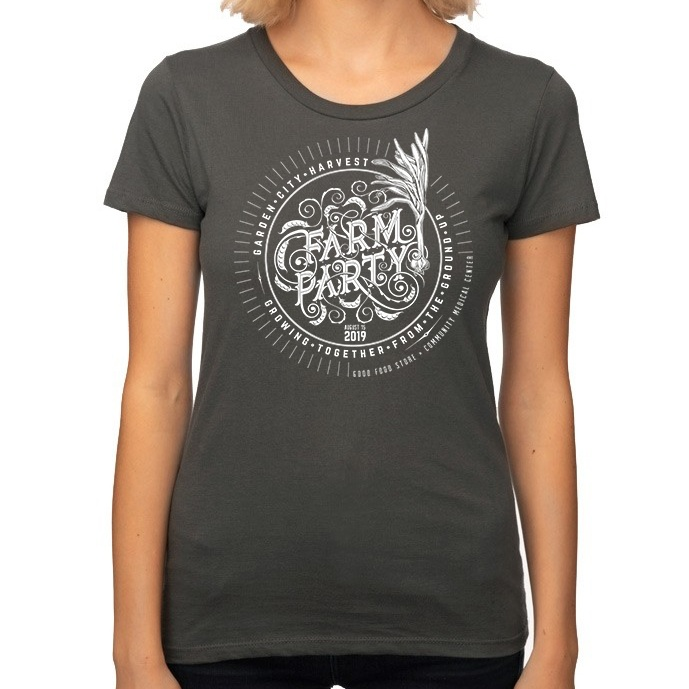 Women's cut t-shirt:   100% organic cotton, made in the USA, slate grey, soft to the touch