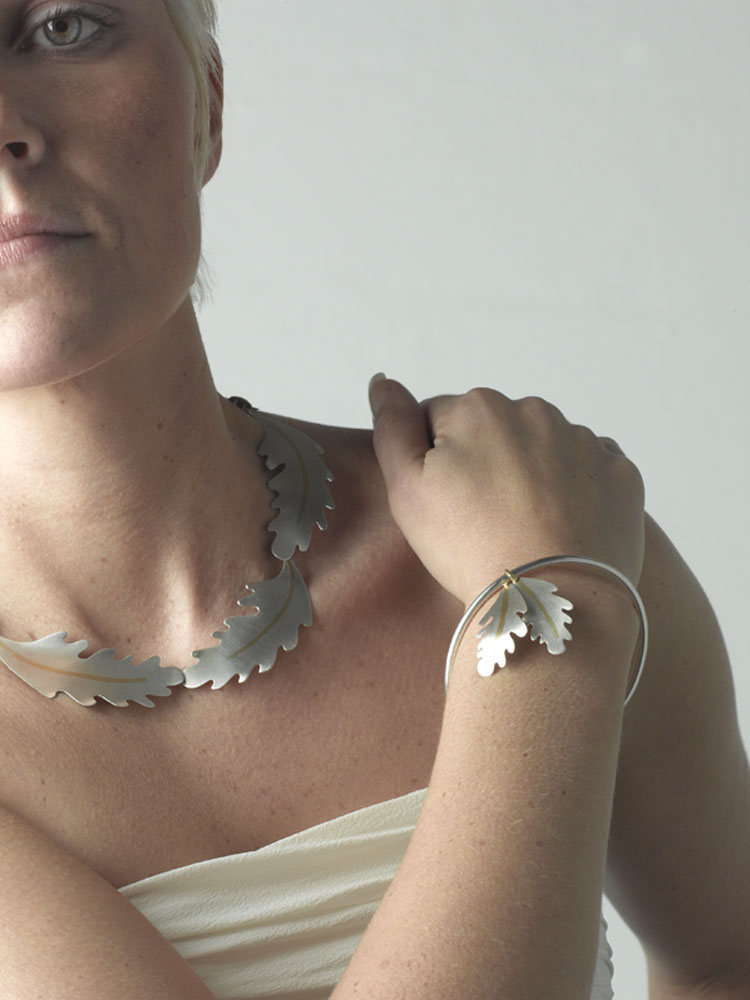 Oak leaf neckpiece and bangle