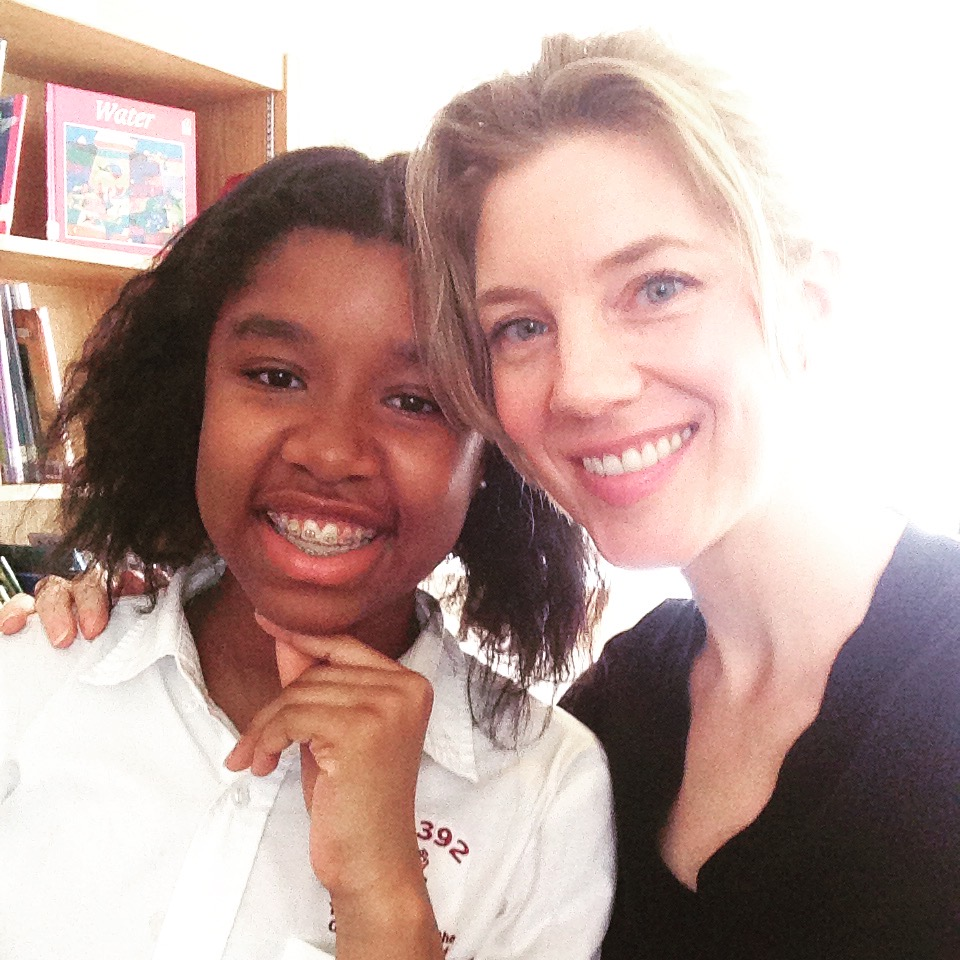 Liz Arnold with her student Nia at I.S. 392.