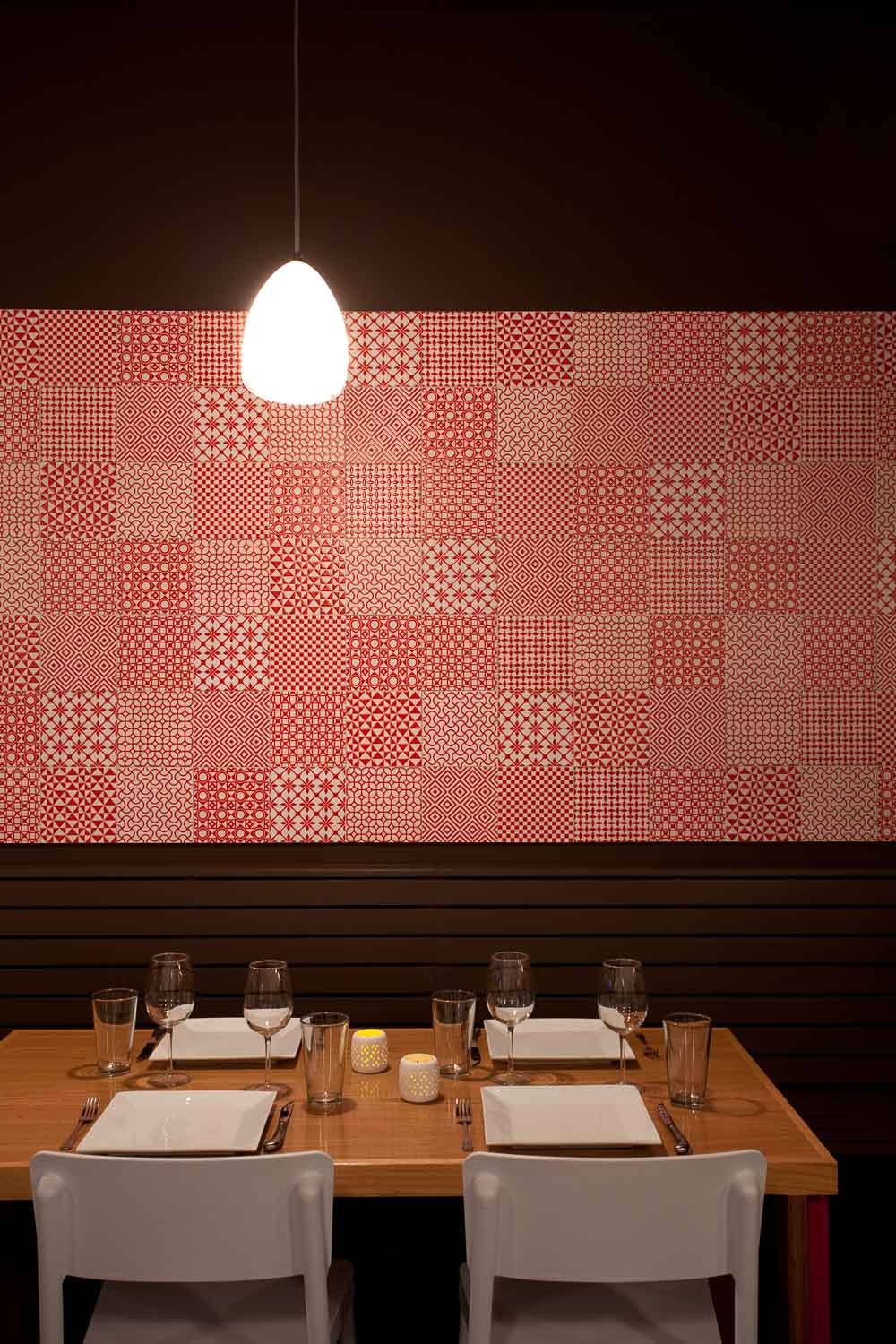 Restaurant Design Interiors. A Ceramic Wall made of Handmade Tiles