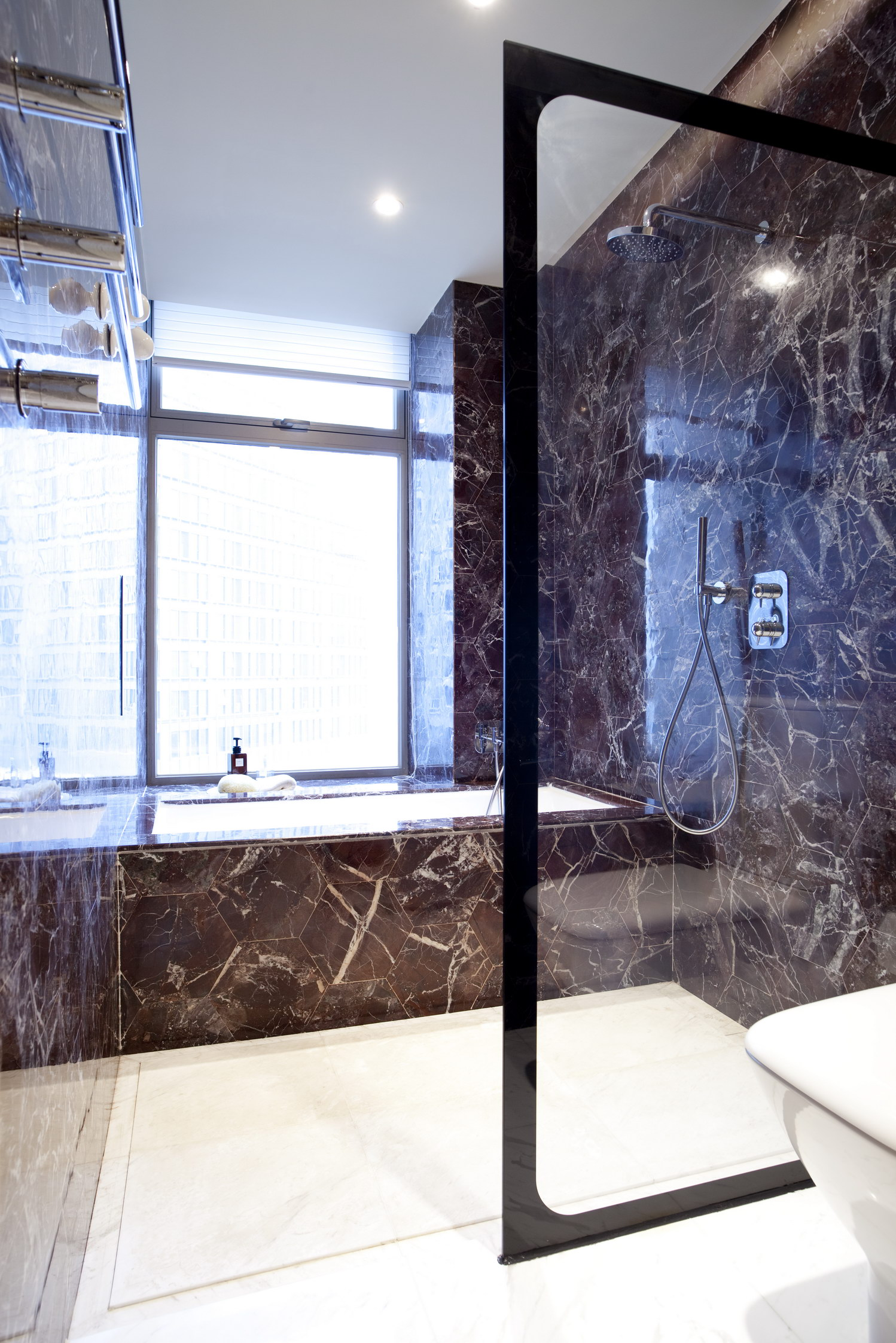 MASTER BATHROOM Bisazza tiles and wood Laufen sink cabinets