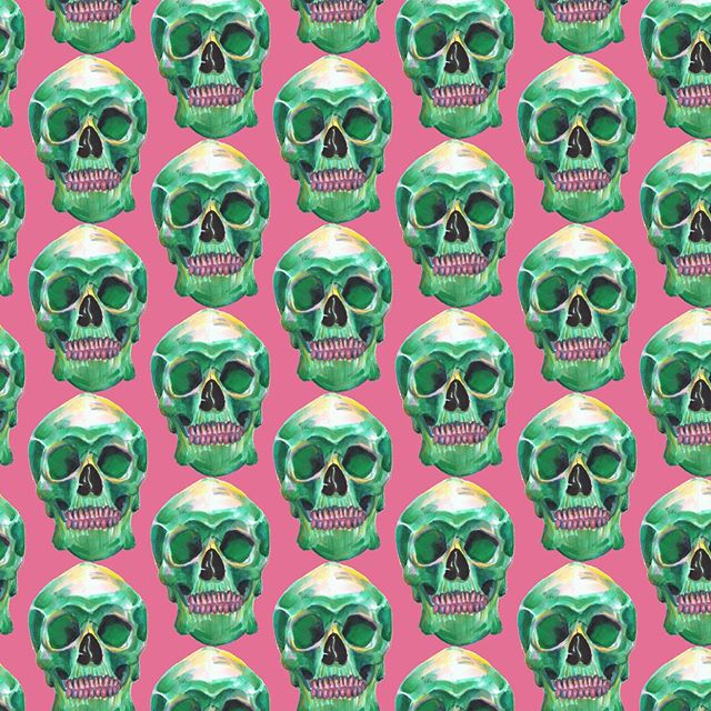 A sketchbook drawing made into a pattern, cotton candy teeth  #skull #patterndesign #illustration