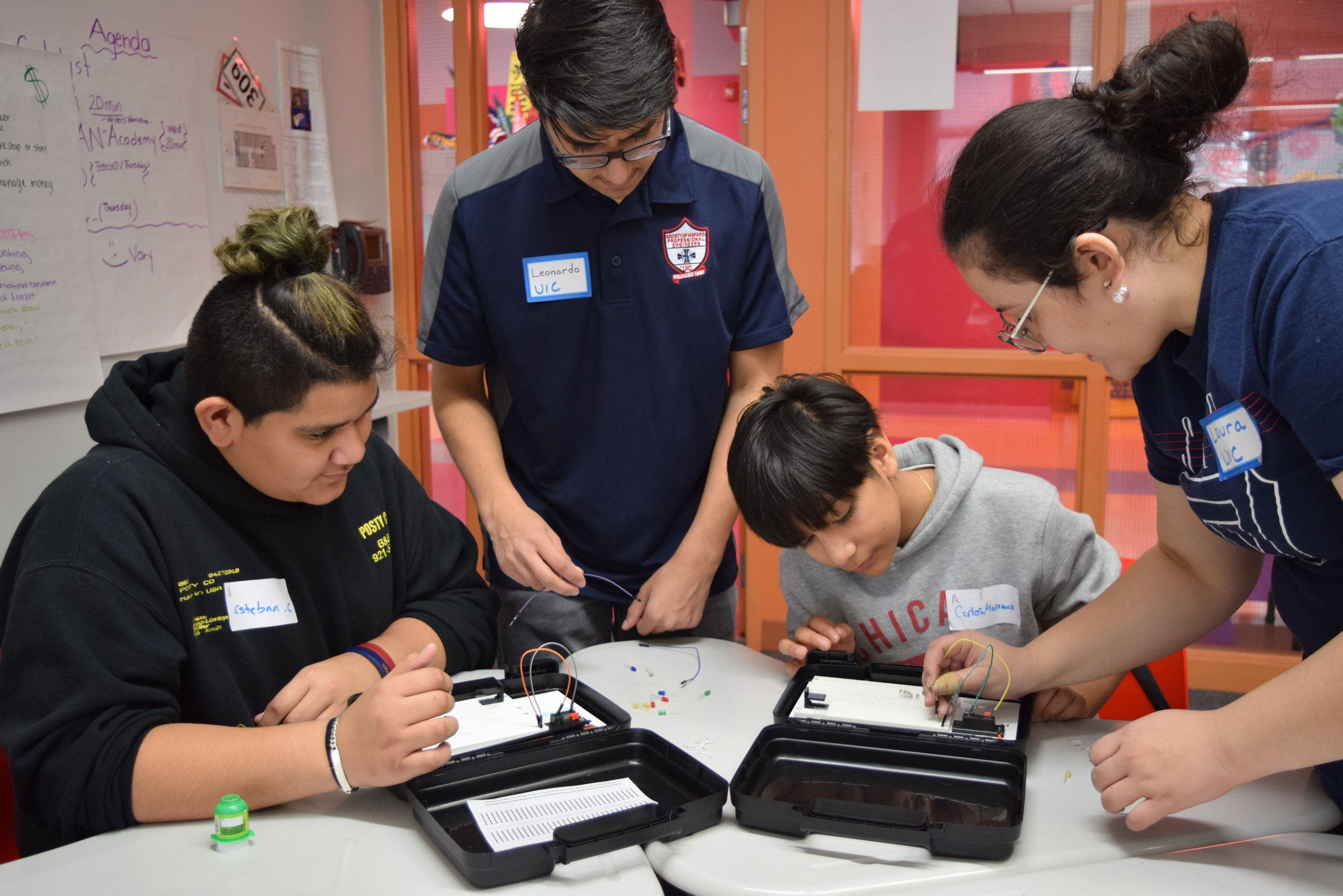 Noche de Ciencias - Noche de Ciencias is meant to inspire and teach students about STEM career fields through interactive activities. Students have the opportunity to discover new career avenues while parents are encouraged to attend and learn about the higher education application process!