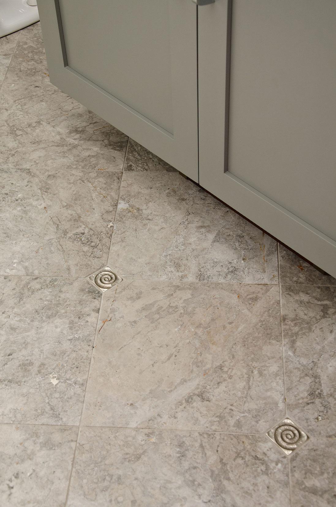 Quincy, MA powder room custom tiles floor