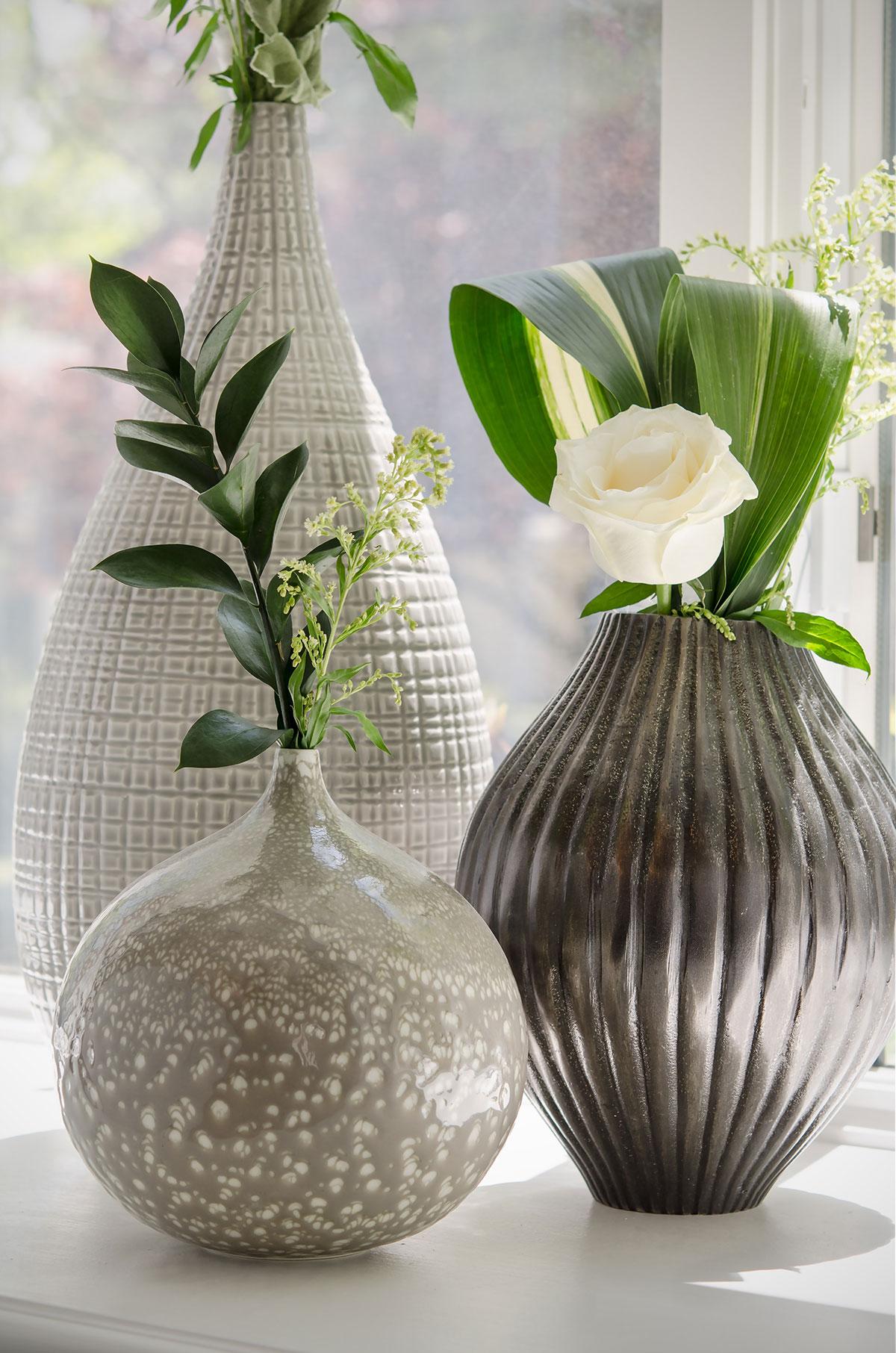 Braintree, MA interior design grouping of textured vases