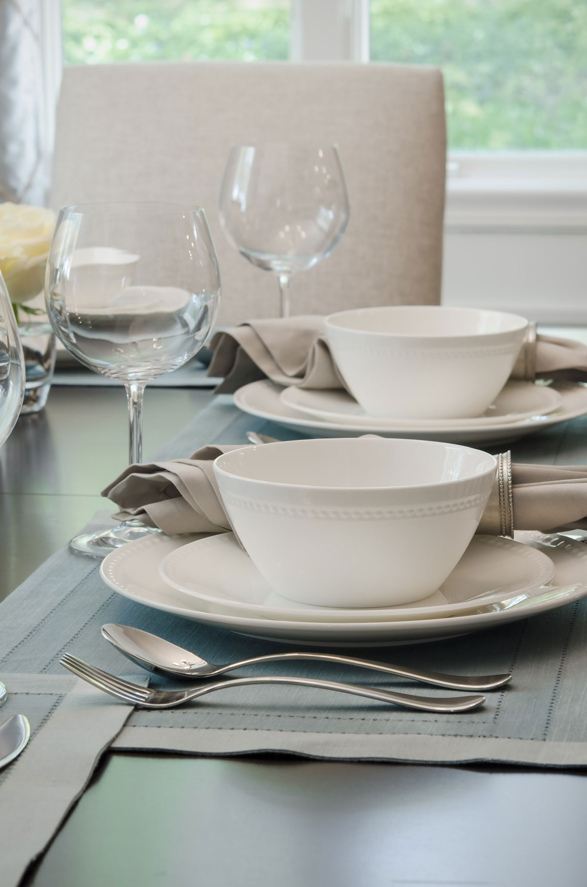 Braintree, MA dining room placesettings by Susan Curtis Interiors