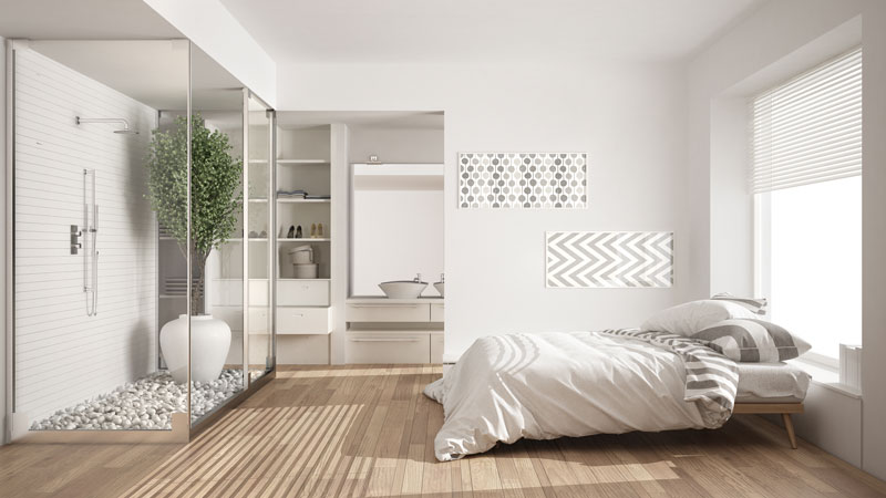 White themed Bedroom interior