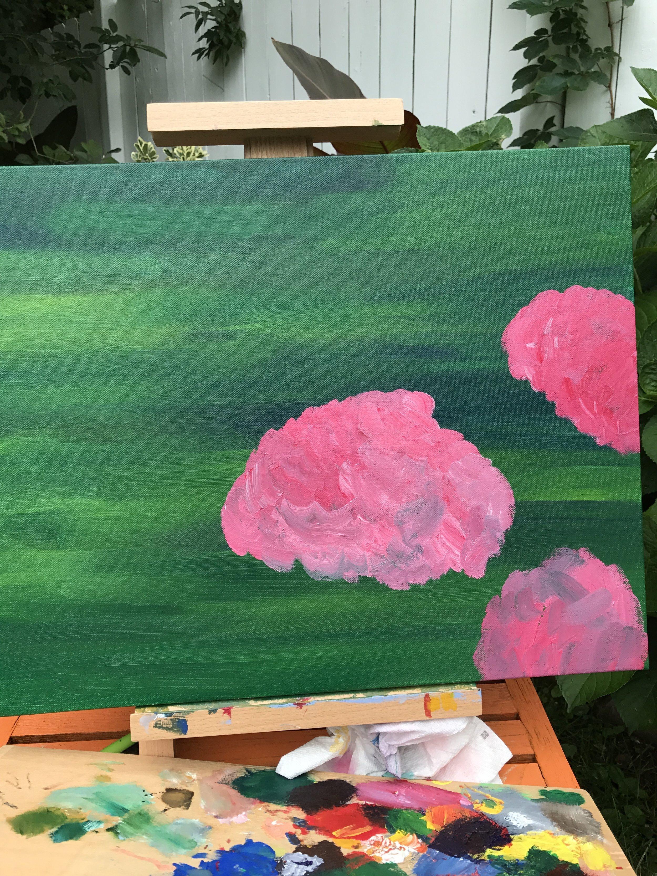 Painting  Dispassion  in my outdoor makeshift studio ©Francesca Bandino