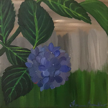 ©October 2017, Francesca Bandino, Fallen Hydrangea. Acrylic on Canvas, 10x10x.8 inches, $285.00