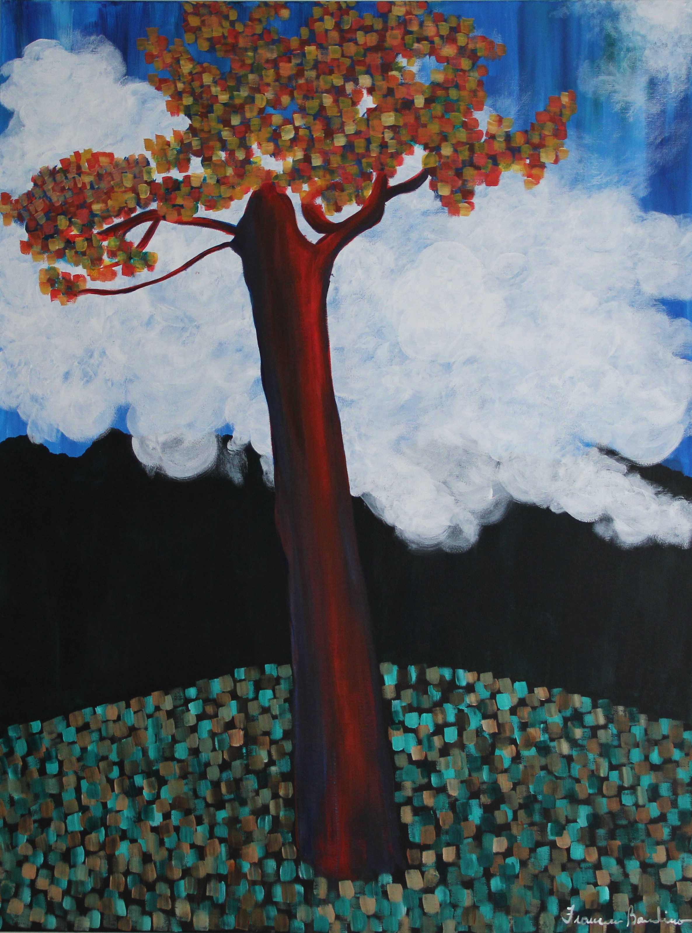 ©March 2017, Francesca Bandino, Tree and Mountains. Acrylic on Canvas, 40x30x.8 inches, $930.00