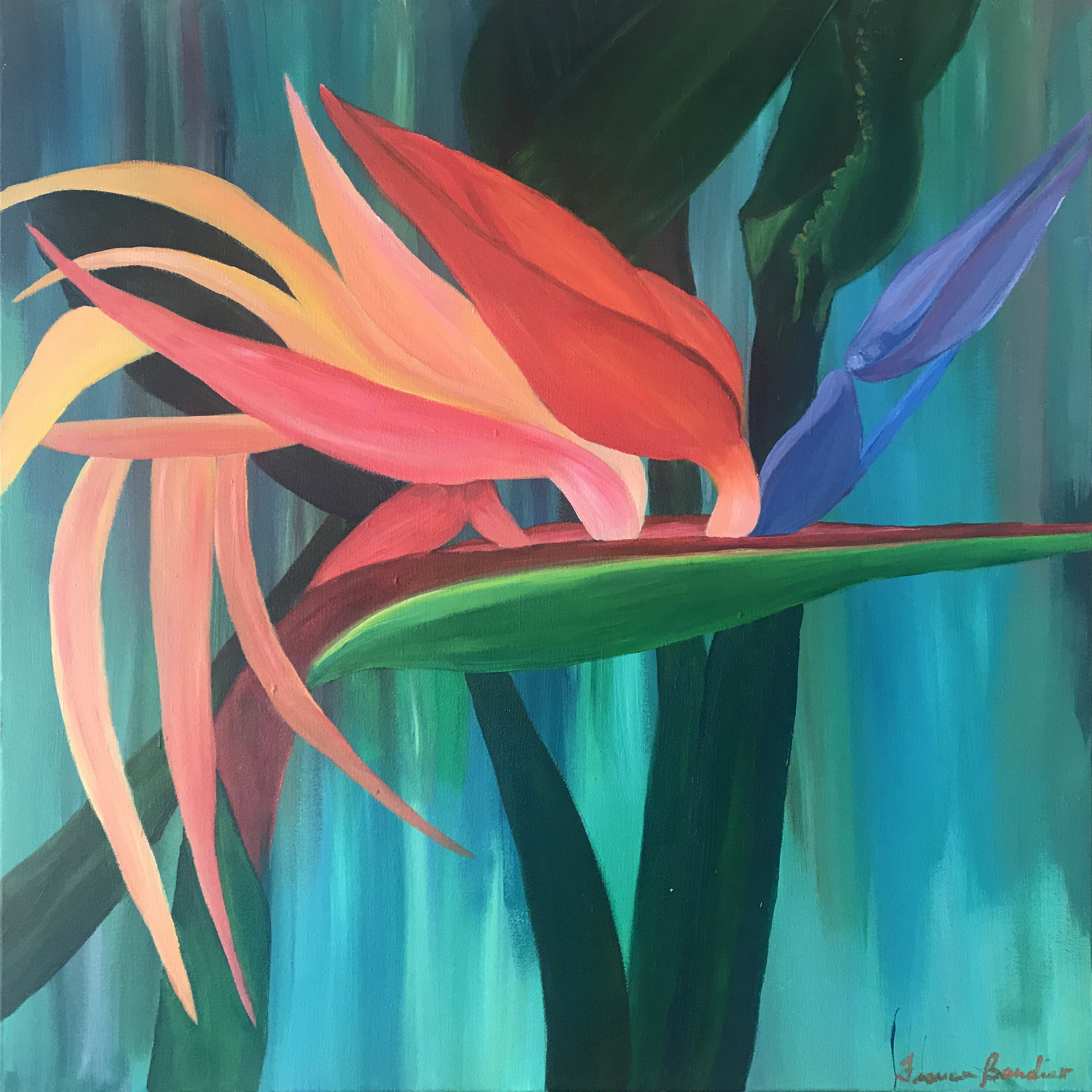 ©April2018, Francesca Bandino,  A Bright Soul . Acrylic on Canvas, 24x24x.8 inches