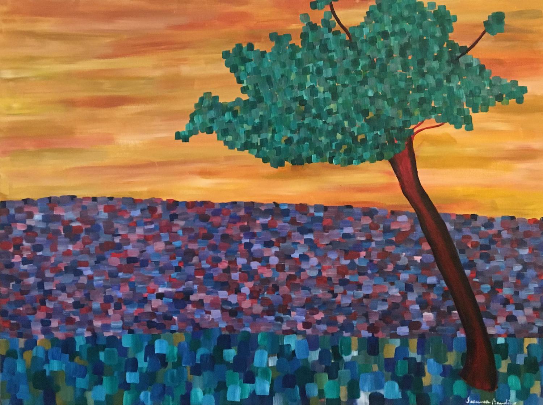 ©April2017, Francesca Bandino,  Tree in Via Roma . Acrylic on Canvas, 30x40x.8 inches, $930.00