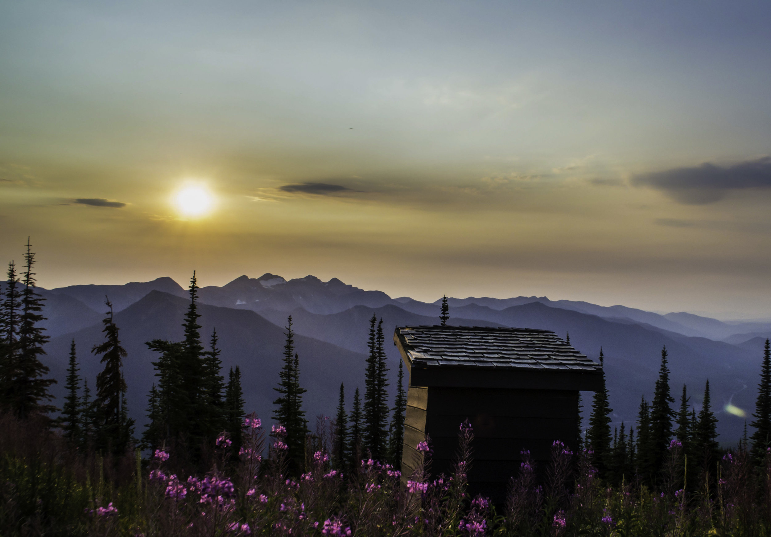 This beauty is at Scalplock lookout in Glacier NP. It's surrounded by ample huckleberries, which is nice if you need a bump of fiber to help things move. The views are spectacular and its a long but easy hike to get here. RATING: ★★★★★, Location 48.300555,113.575068