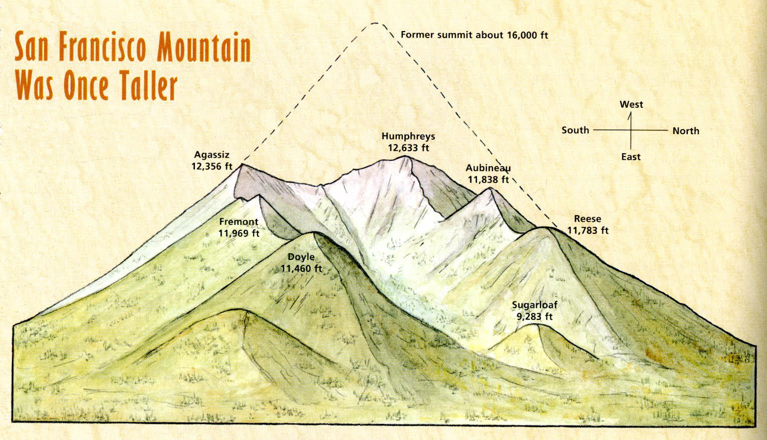 San Francisco Mountain - Before the collapse the elevation of San Francisco Mountain is estimated to be somewhere between 14,000 and 16,000 ft. [image from https://www.snowbowl.ski/san-francisco-peaks-geology/]