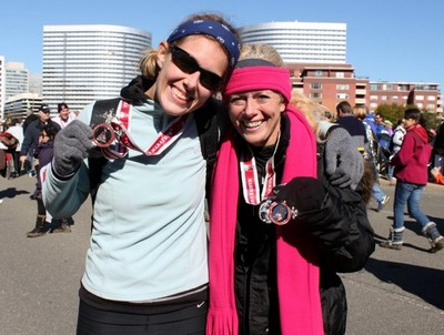 """(Heather, my niece, and I after the race sporting our """"bling"""")"""