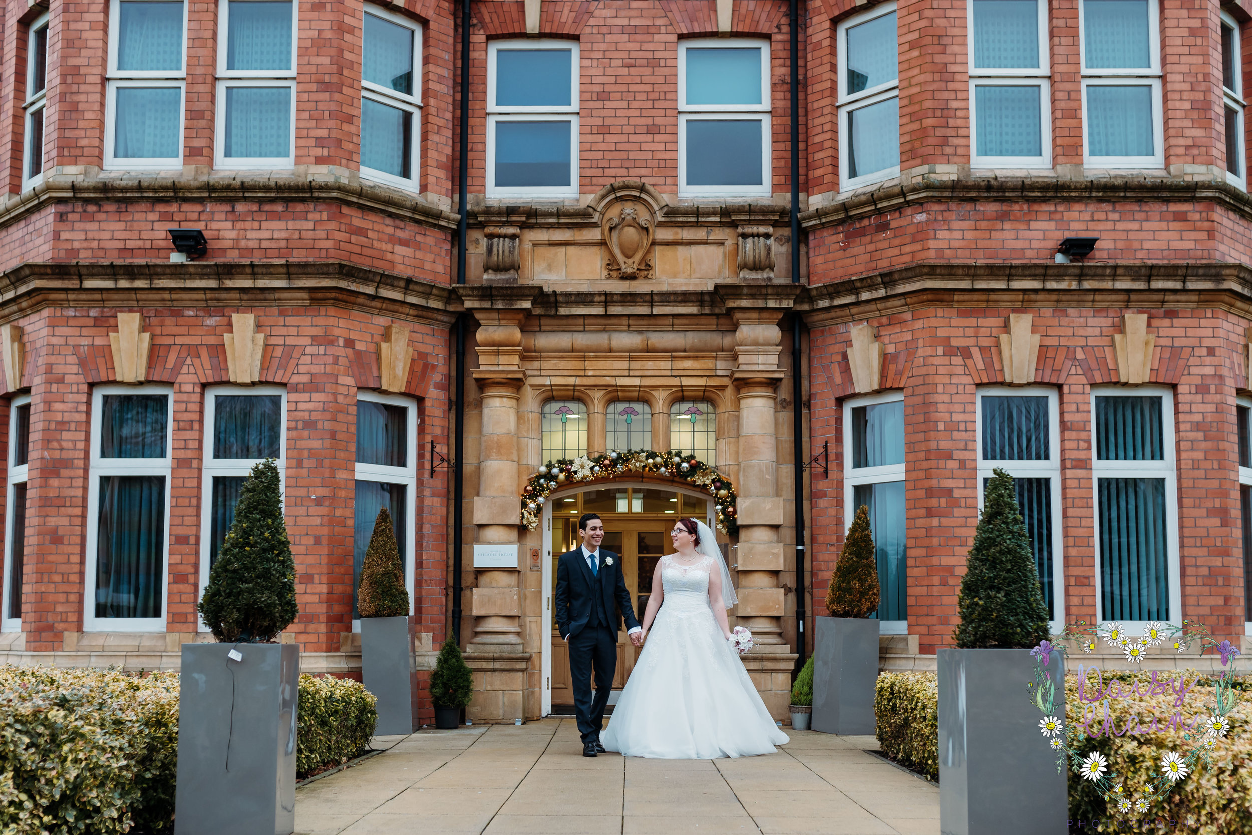 Bride and groom and cheadle house, cheshire