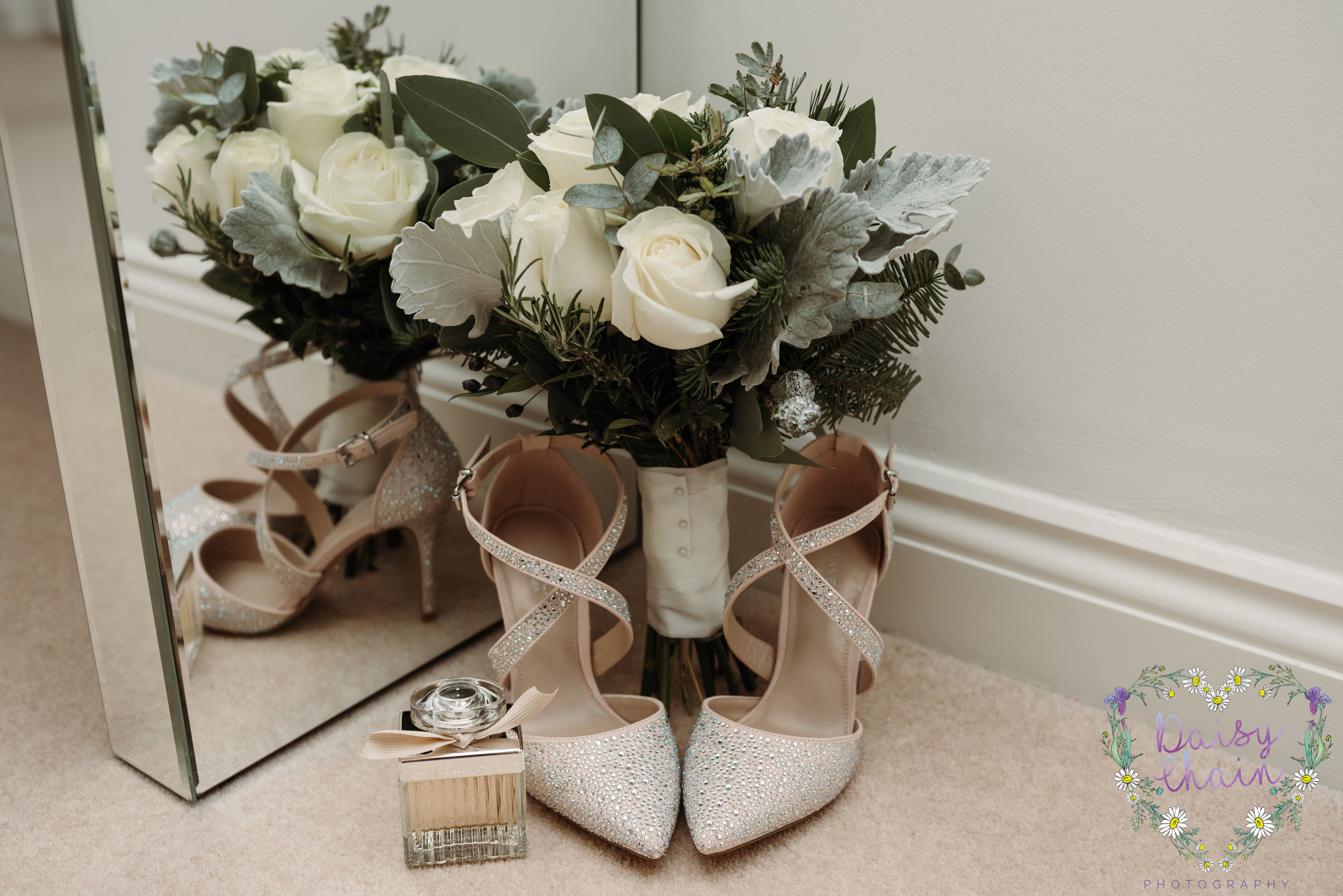 Gorgeous wedding bouquet and wedding shoes