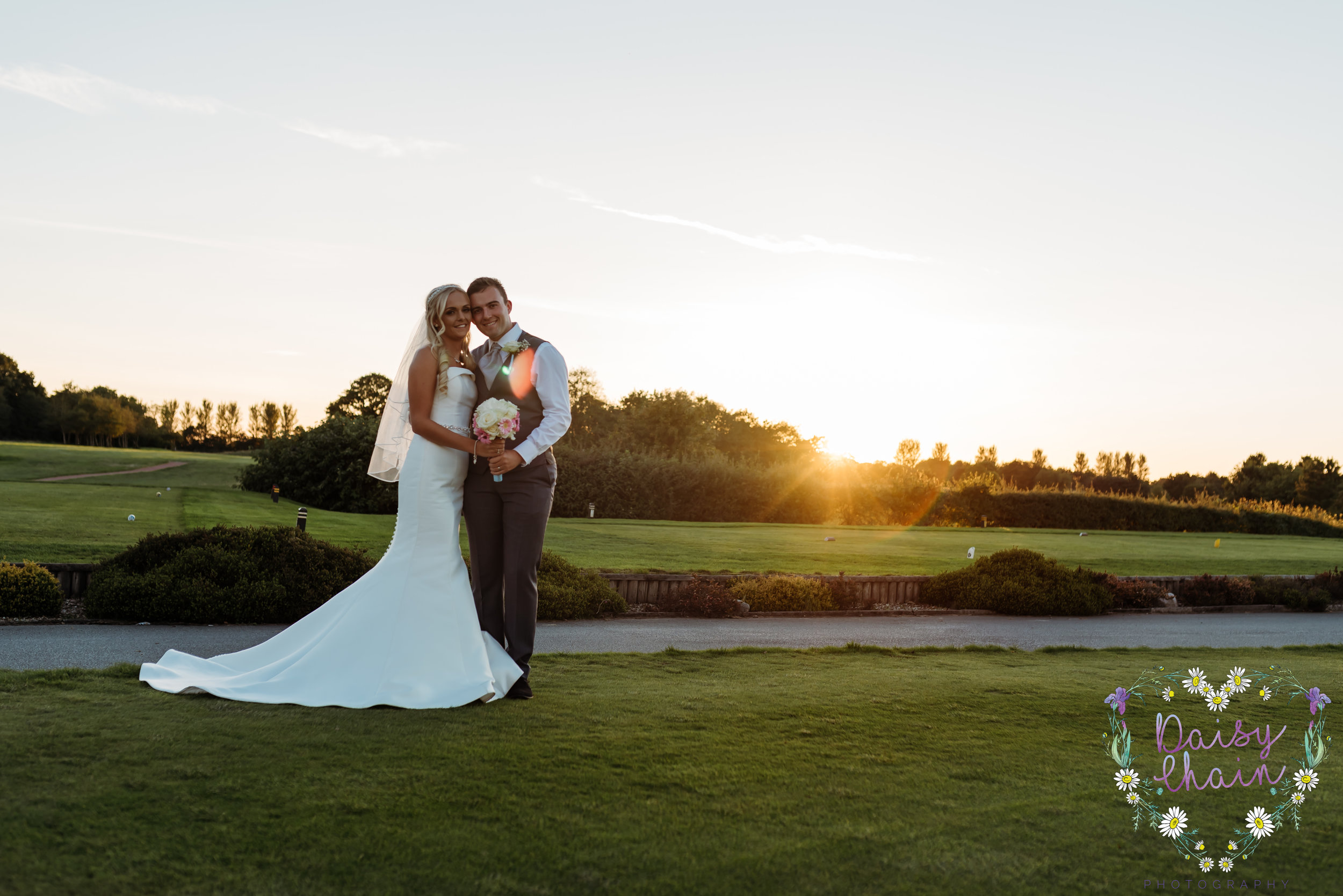 Sunset Hurlston Hall - wedding