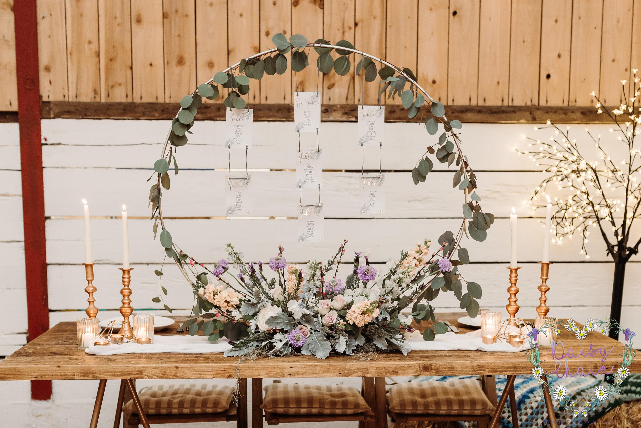 Hoop wedding table plan - lancashire