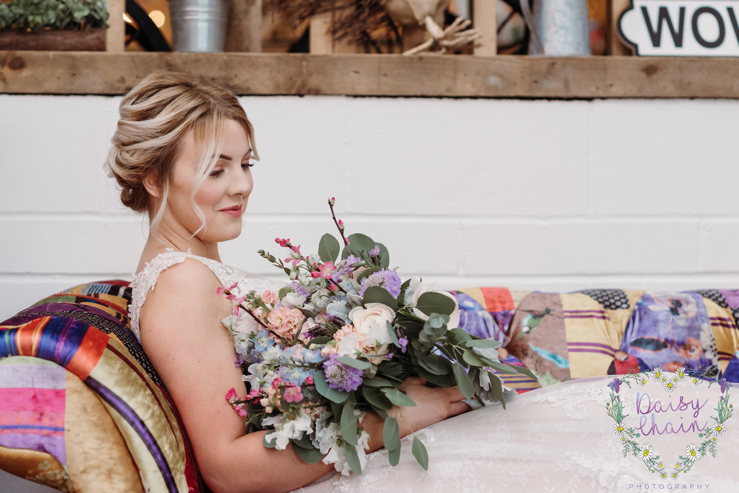 rustic wedding bouquet - lancashire
