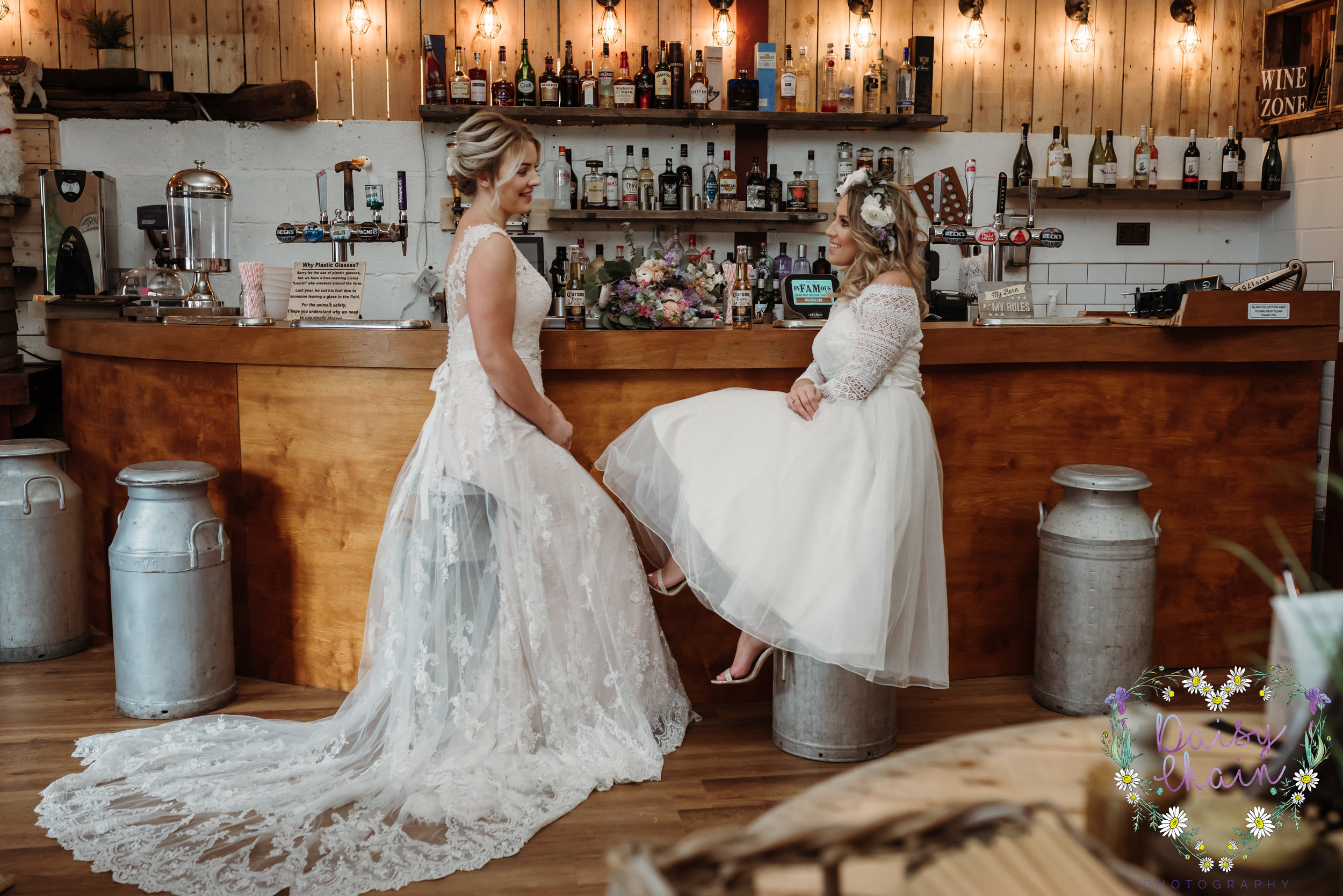 Milk churn bar stools - lancashire wedding