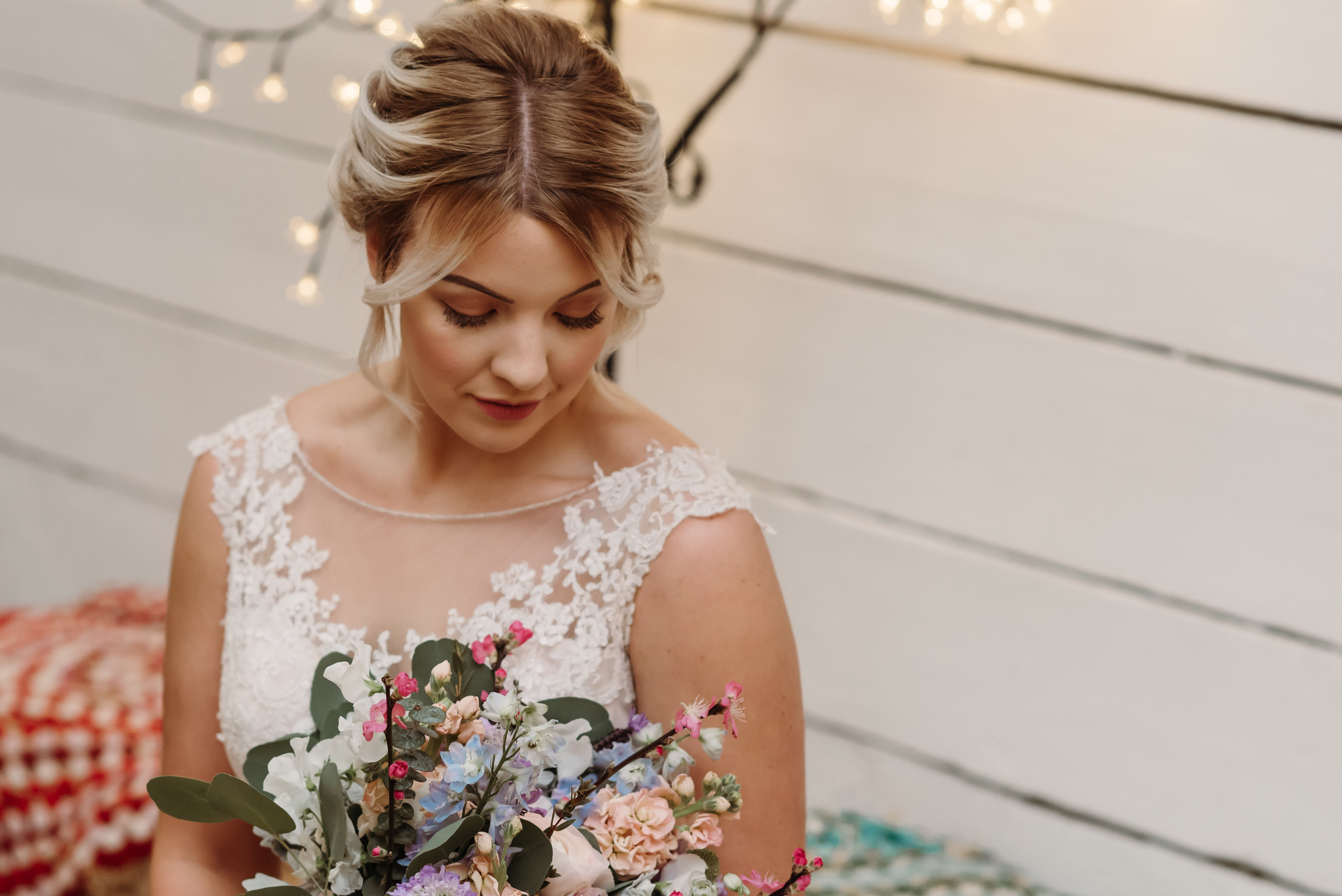 Beautiful bridal makeup and flowers - lancashire