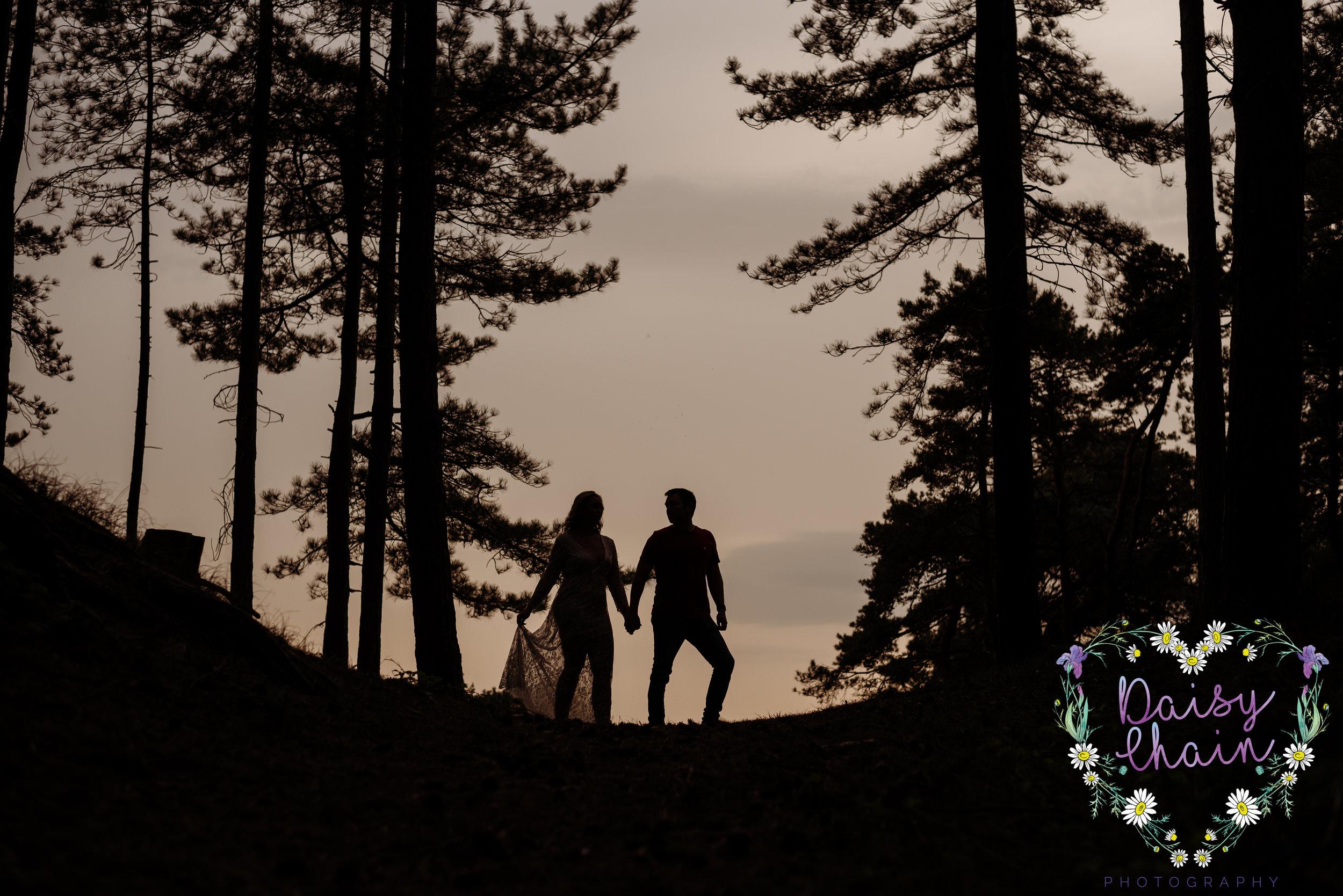 Sunset wedding photography - woodland