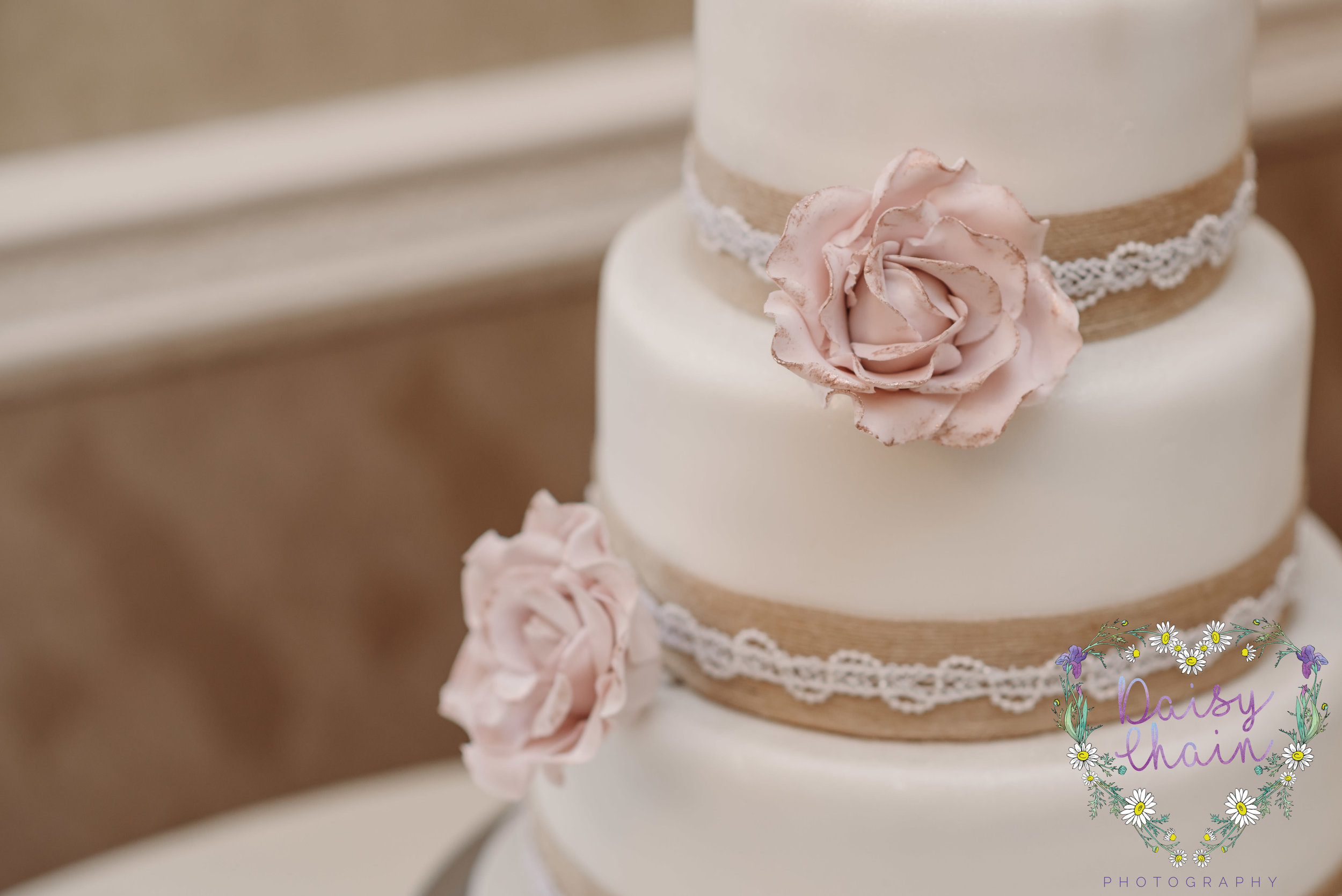 wedding cake and hand made flowers
