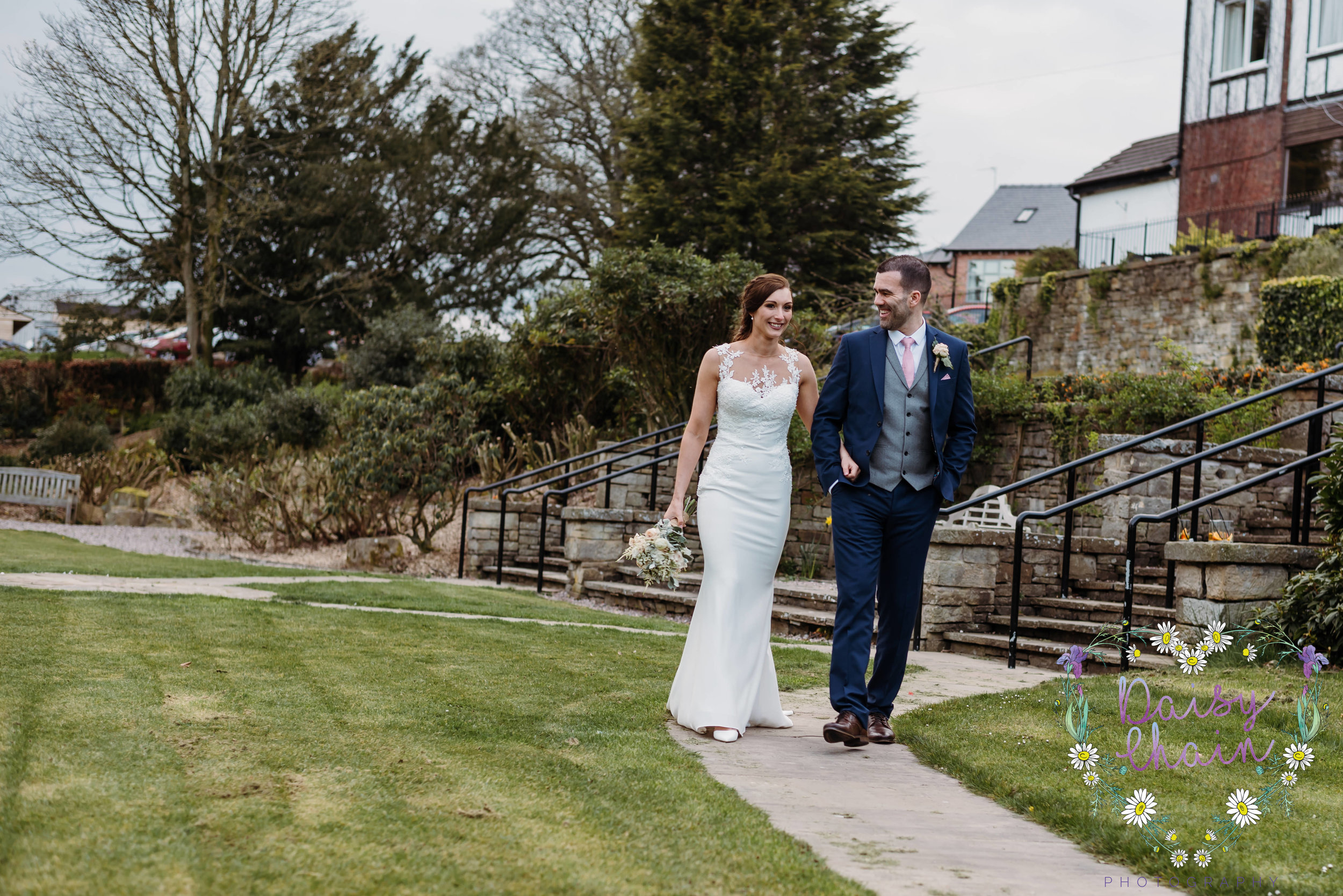 evening stroll as bride and groom