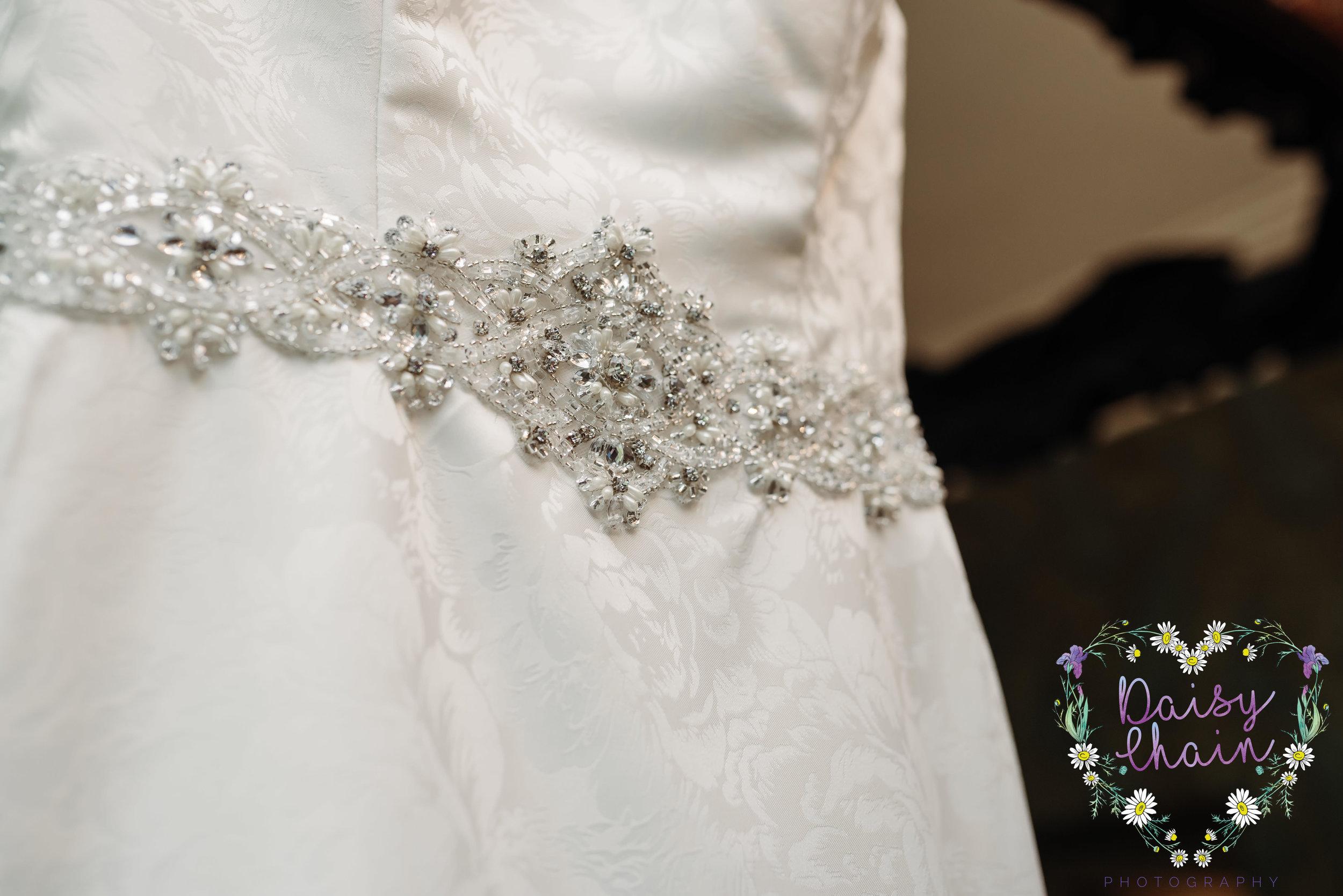 Close up wedding dress detail