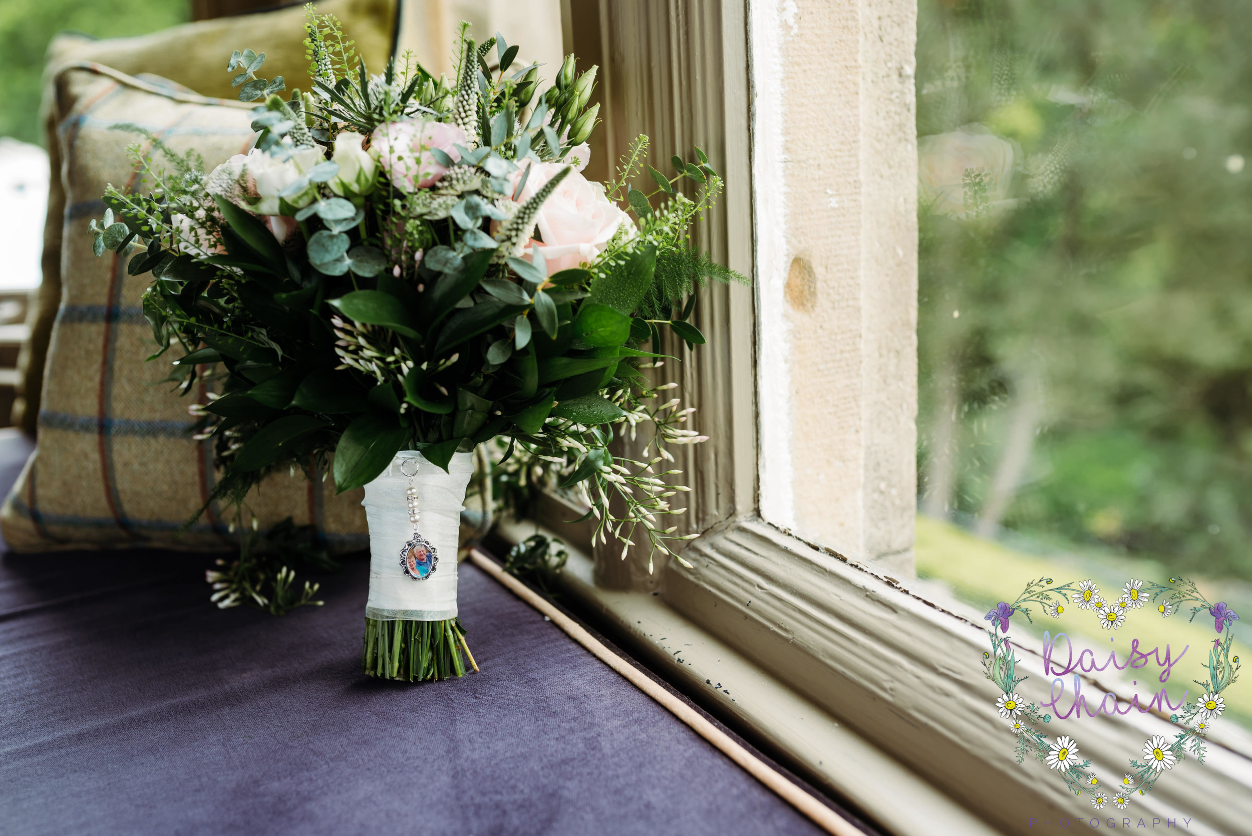 wedding bouquet in window